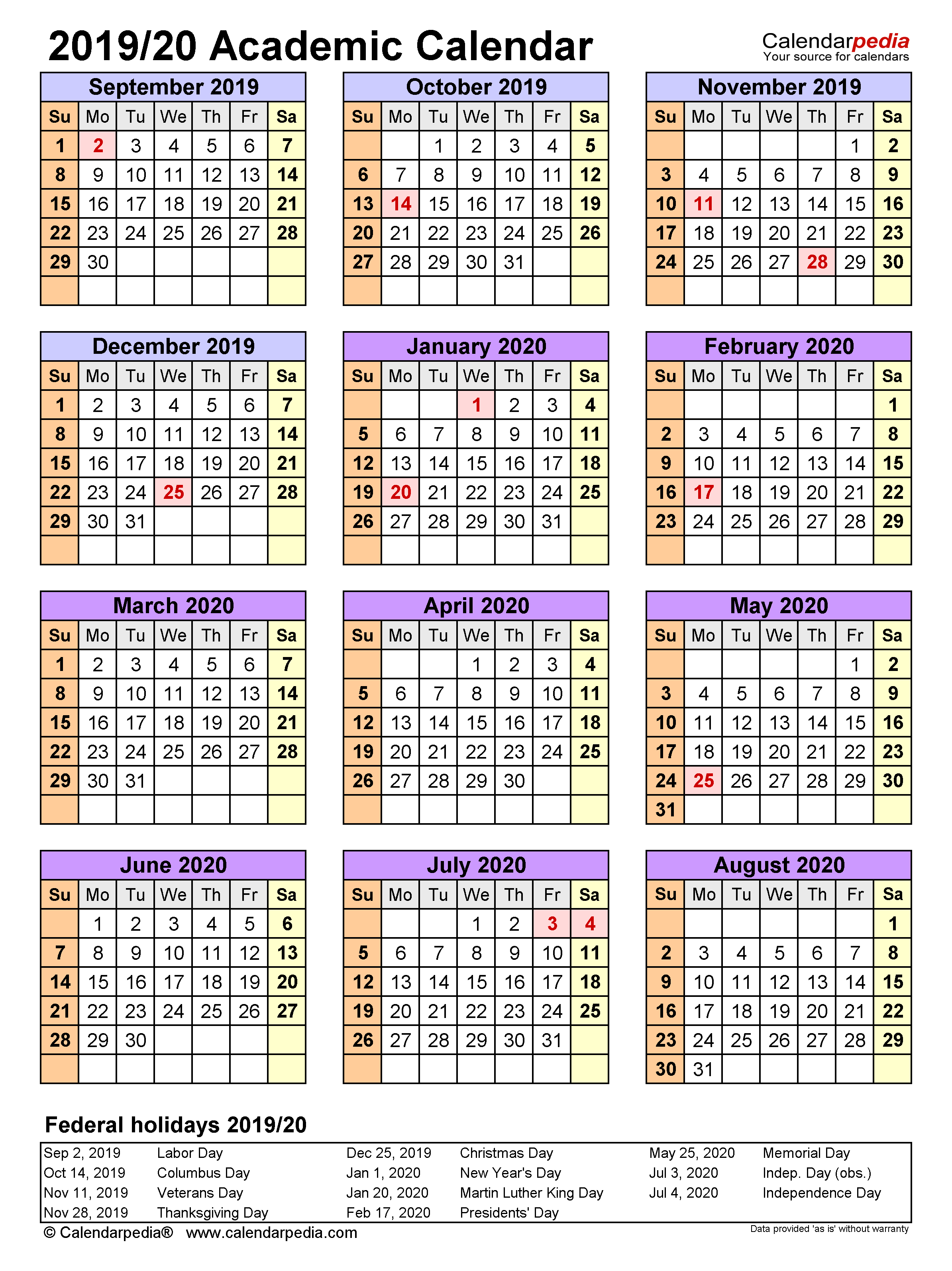 Academic Calendars 2019/2020 - Free Printable Word Templates Pertaining To Iowa State University Spring Semester Printable Calendar