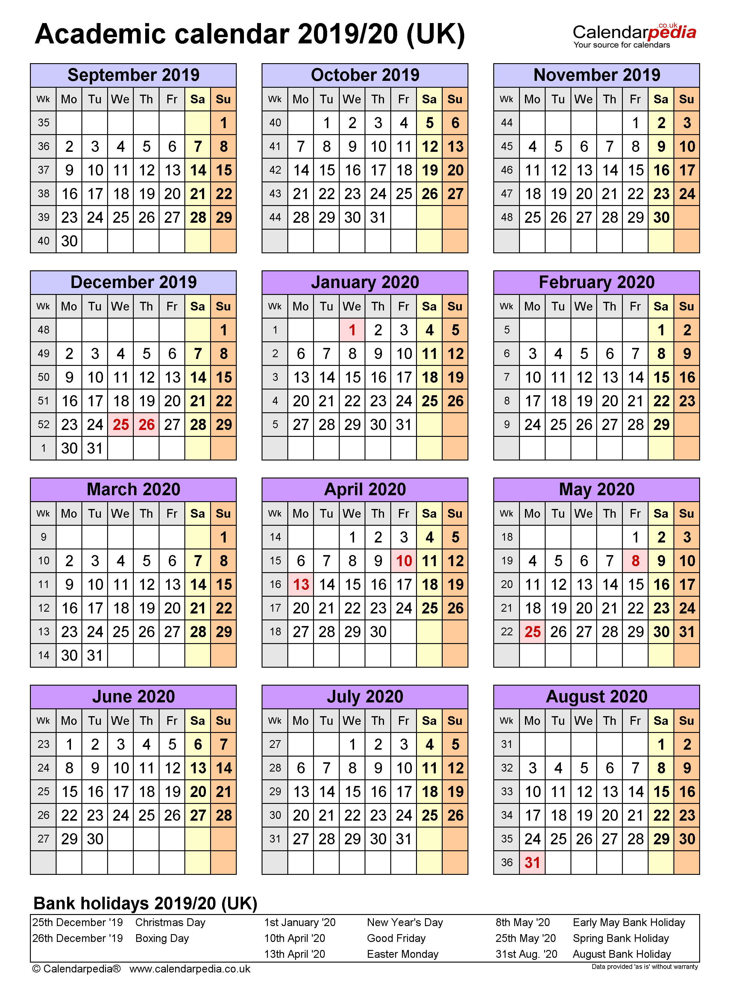 Academic Calendars 2019/2020 – Free Printable Word Templates Throughout University Of Glasgow Academic Calender 2021