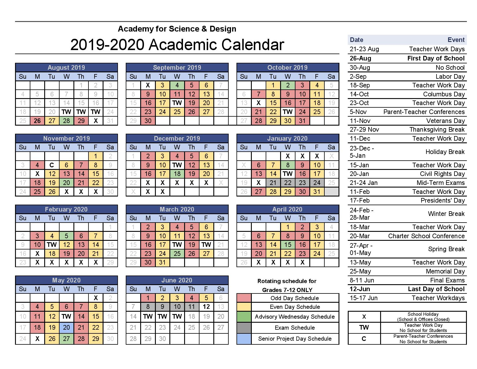 Academic Calendars - Academy For Science And Design pertaining to Johnson And Wales 2021 2020 Calendar