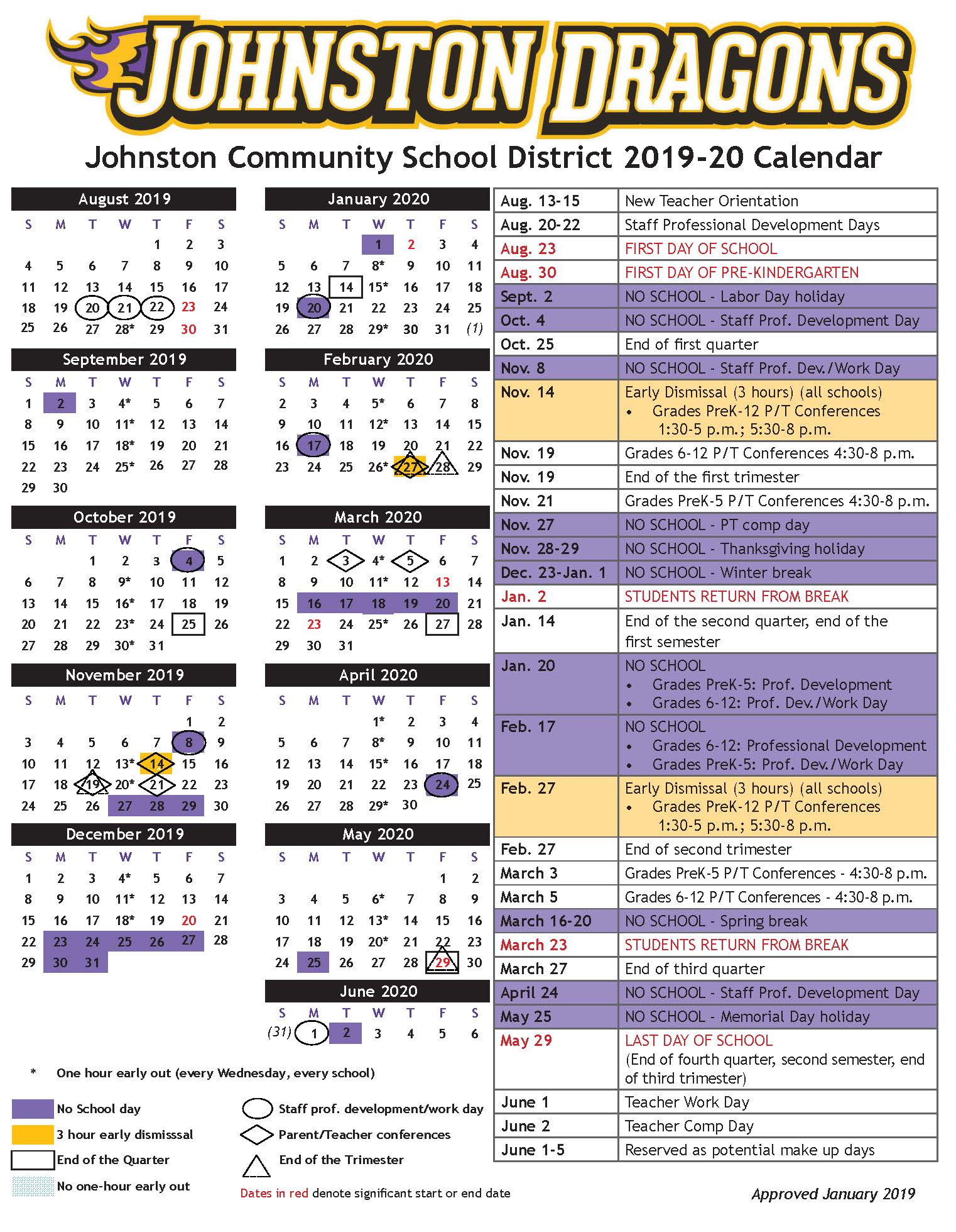 Academic Calendars - Johnston Community School District with Johnston County Schools Nc Calendar
