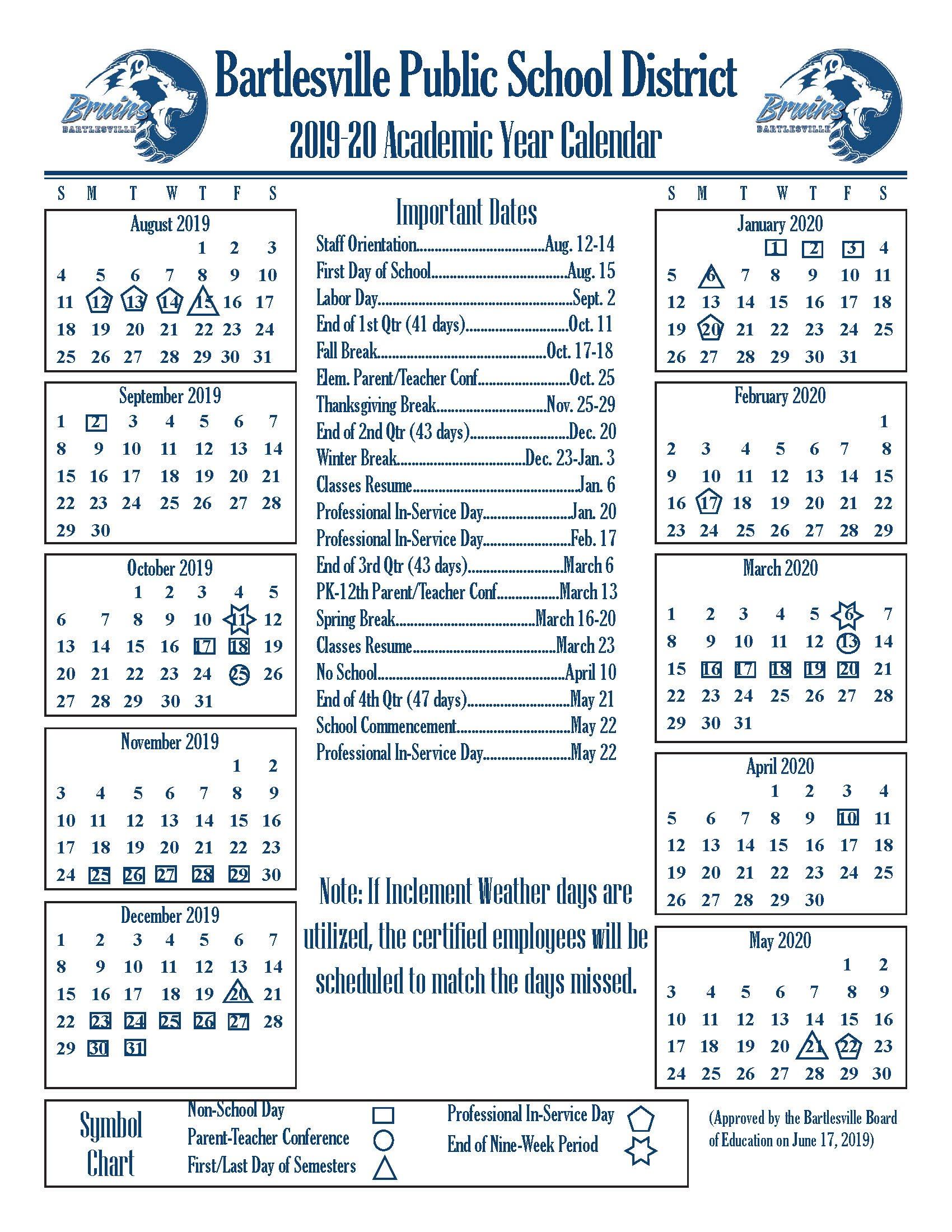 Academic Year Calendars – Bartlesville Public Schools In Broken Arrow Public Schools Calendar