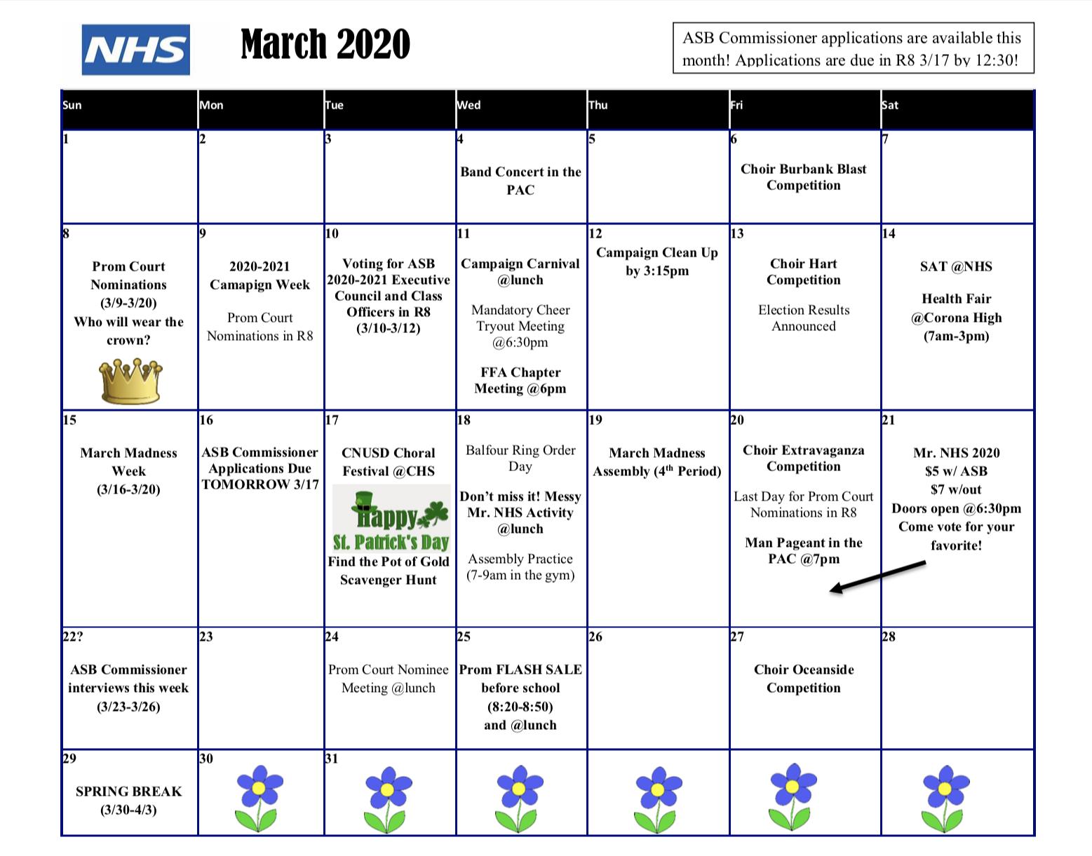 Activities Calendar – Norco High School With Norco School District Calendar