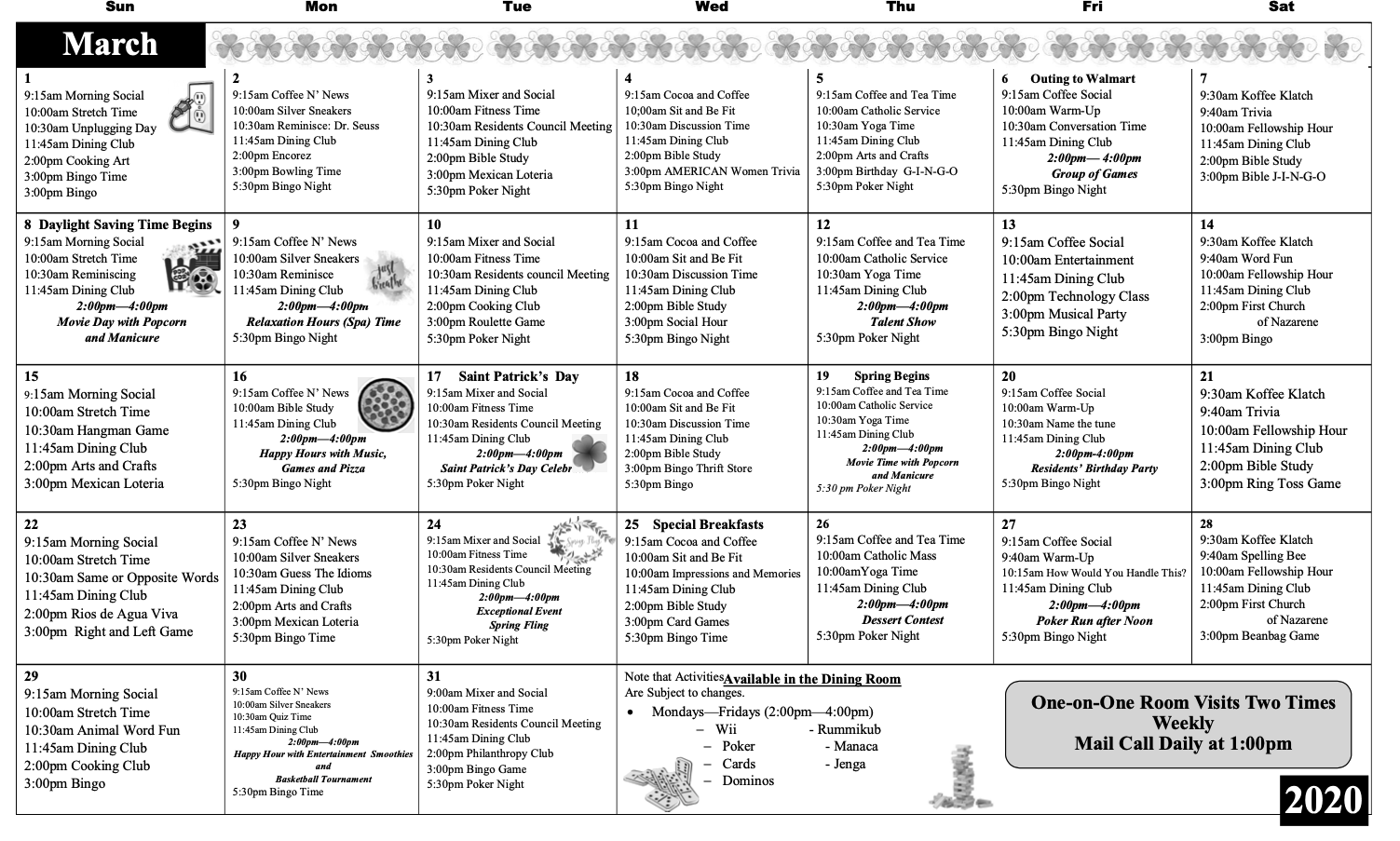 Activity Calendar – Waterman Canyon Post Acute With Regard To Mexican Calendar Saints Names 2020