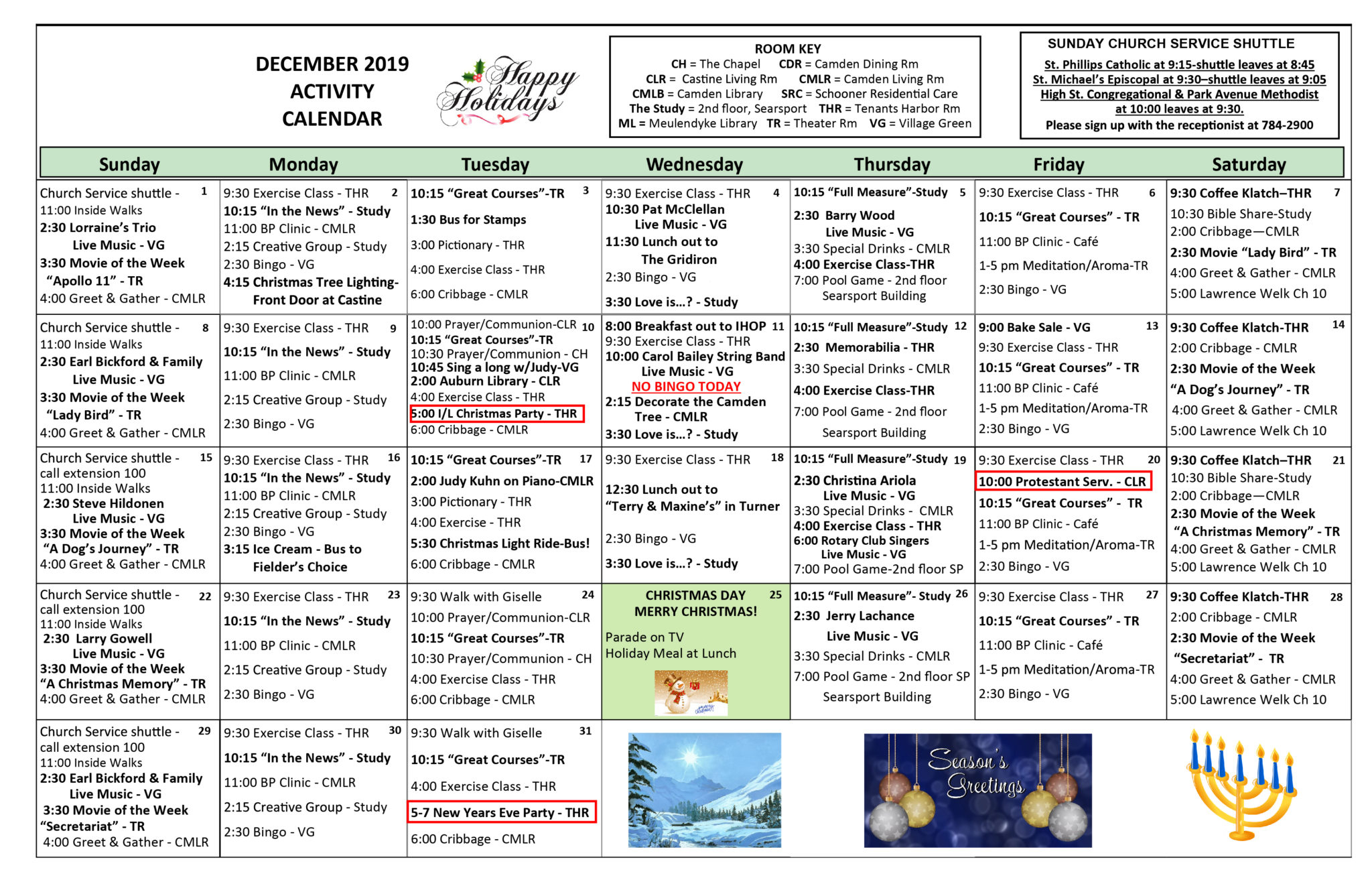 Activity Calendars Inside Asiisted Living Home Monthly Cactivity Calendar