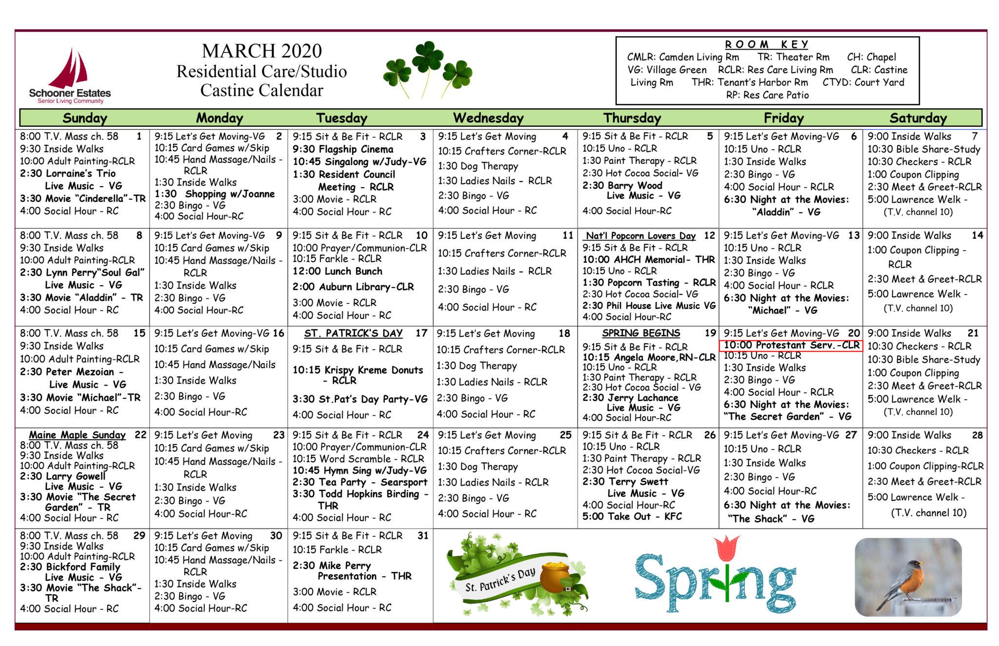 Activity Calendars Regarding Asiisted Living Home Monthly Cactivity Calendar
