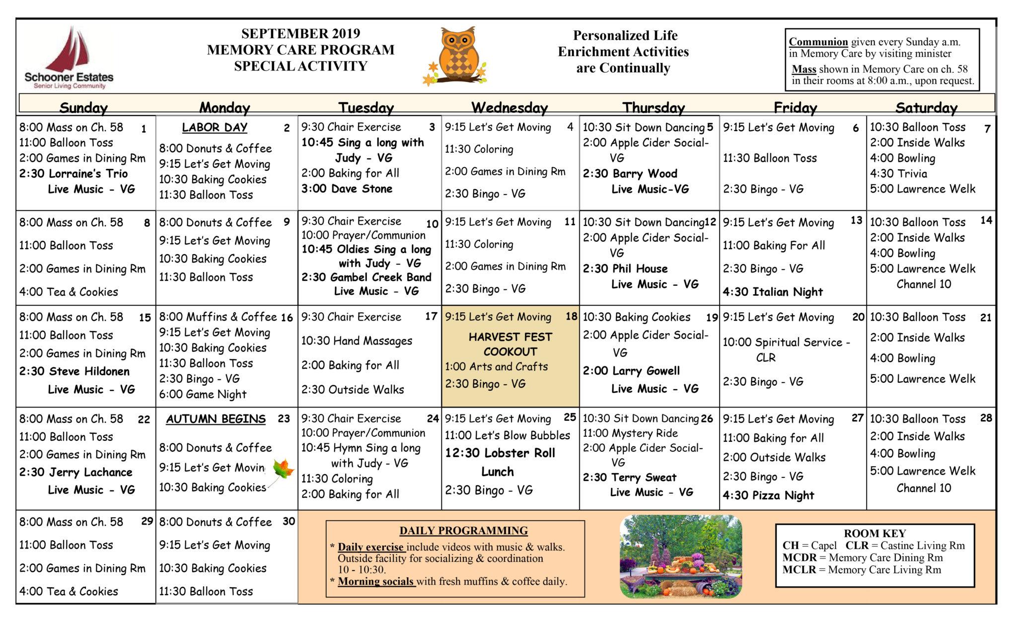 Activity Calendars Throughout Assisted Living Activity Calendar Format