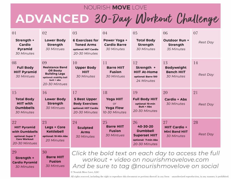 Advanced Workout Plan + 30 Day Workout Calendar   Nourish Inside 30 Days Fitness Calendar