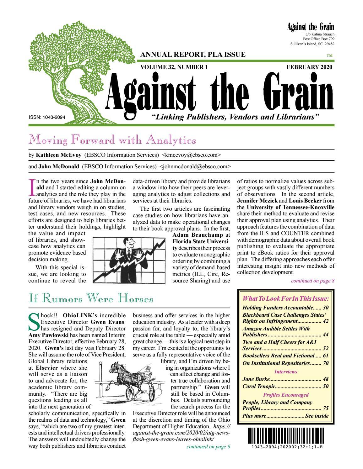 Against The Grain V32 #1 February 2020 Inside Berkeley County Sc School.calendar 2021 2020