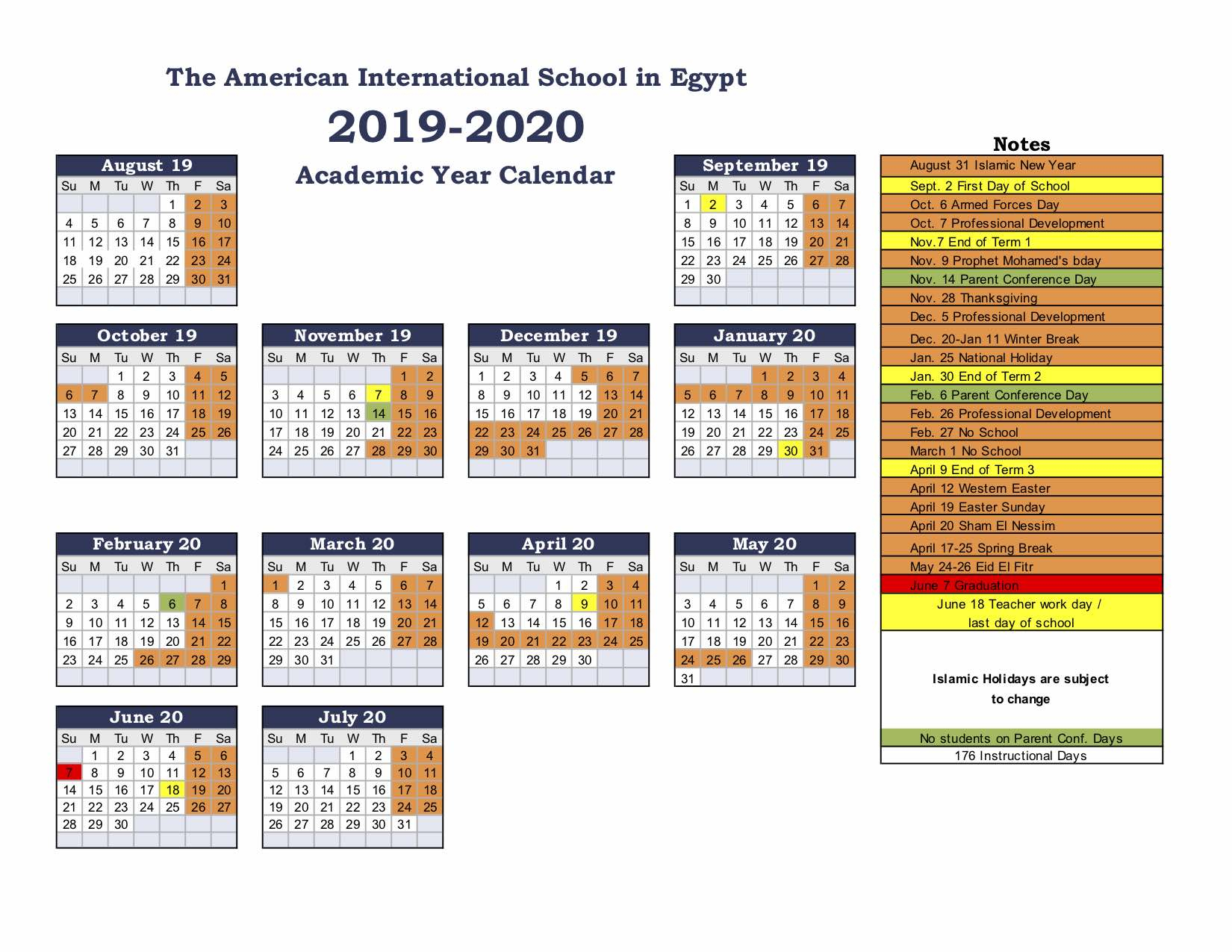 American International School Of Egypt: School Calendar Inside East Orange H S Calendar