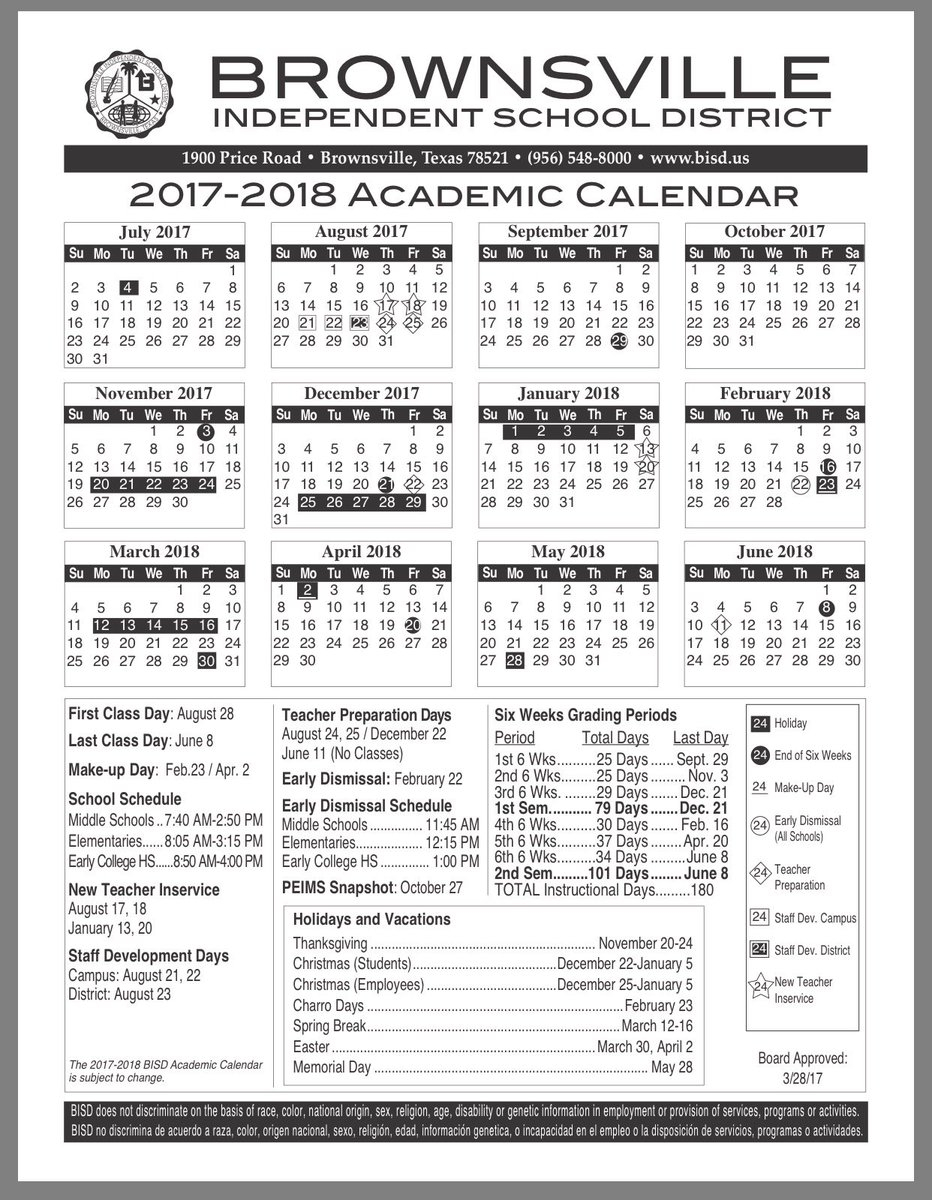 """Ana S. Burguete On Twitter: """"#brownsville Independent School Intended For Brownsville Isd Academic Calendar"""