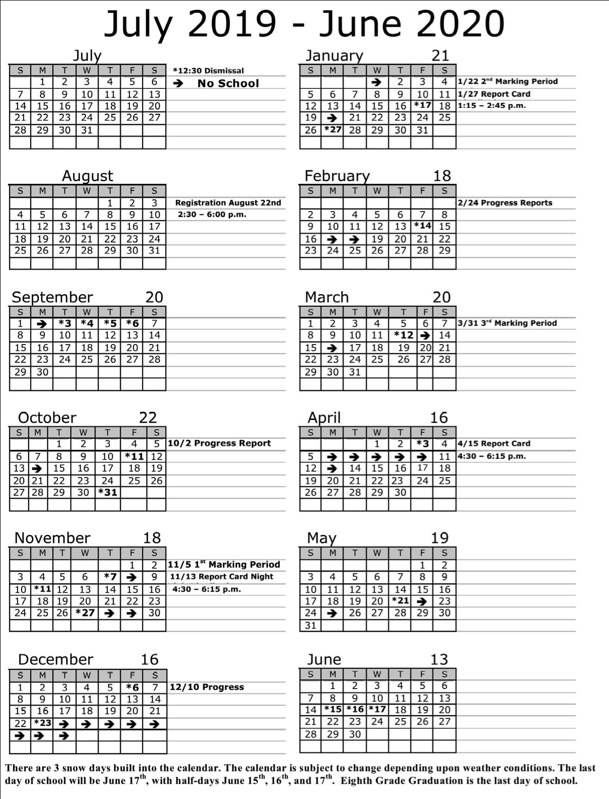 Annual Calendar | Soaring Heights Charter School In Jersey City Board Of Education Member Calendar