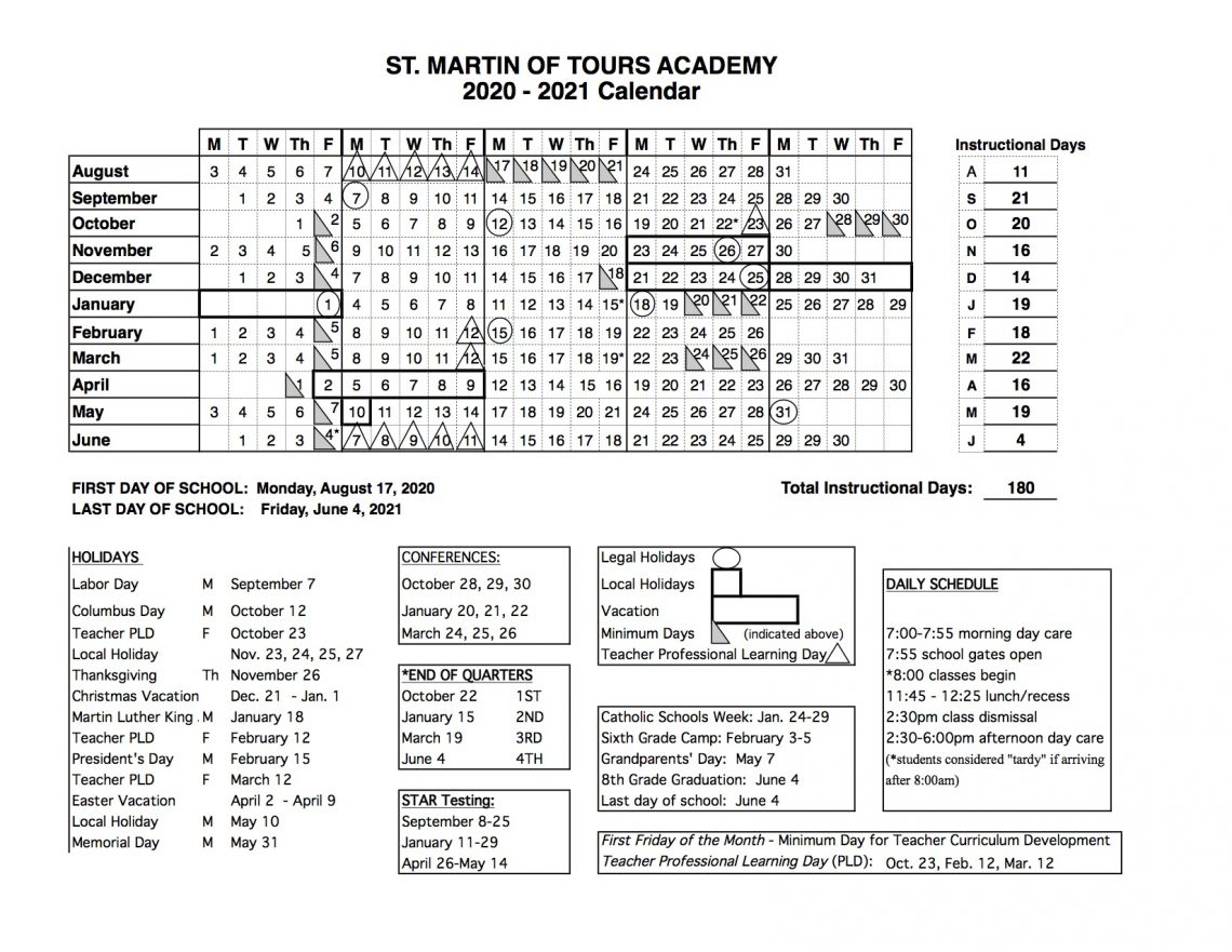 Annual School Calendar   St. Martin Of Tours Academy In San Diego School Calendar 2021