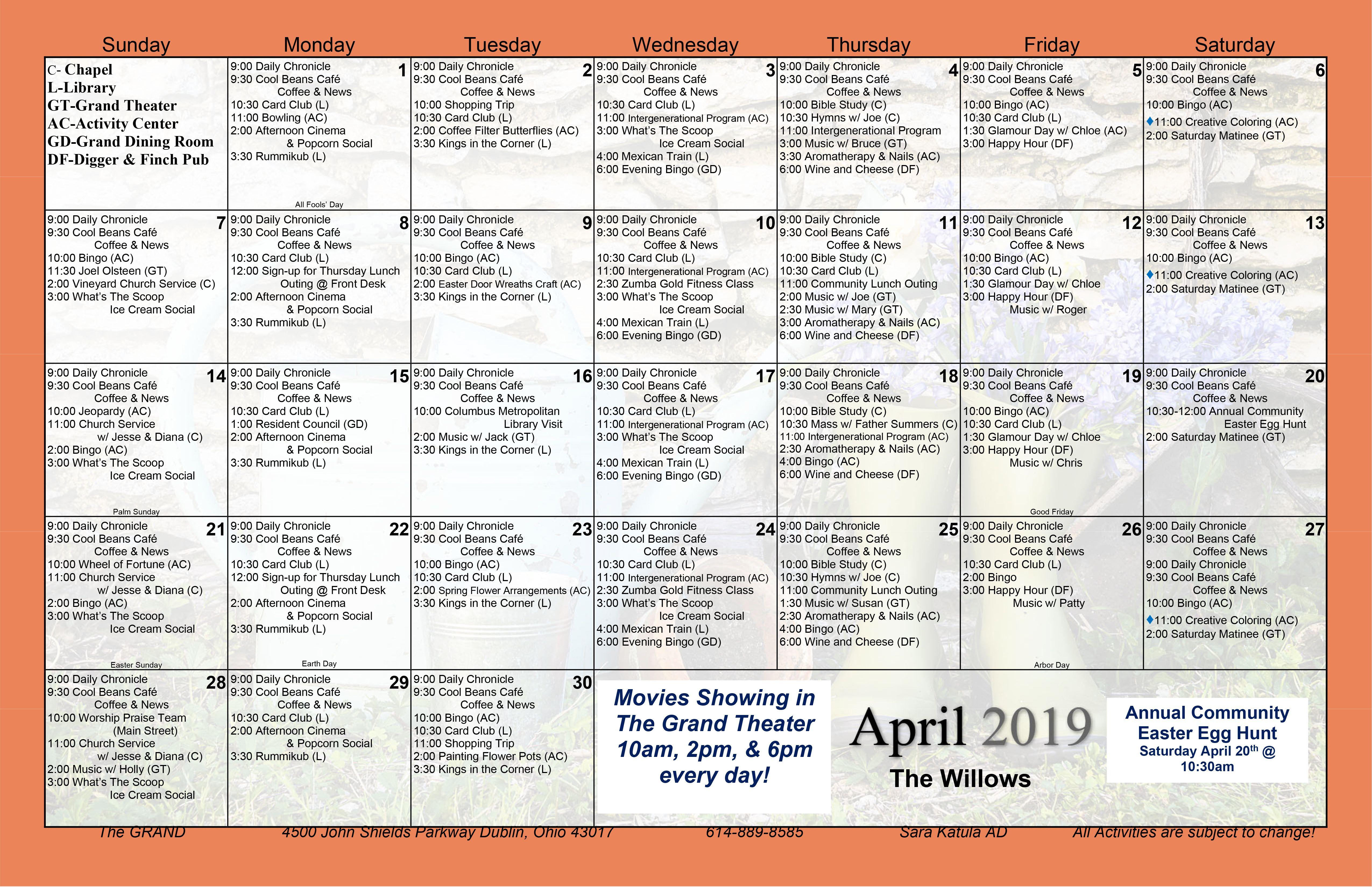April 2019 Assisted Living Activity Calendar | Assisted Inside Assisted Living Activity Calendar Format