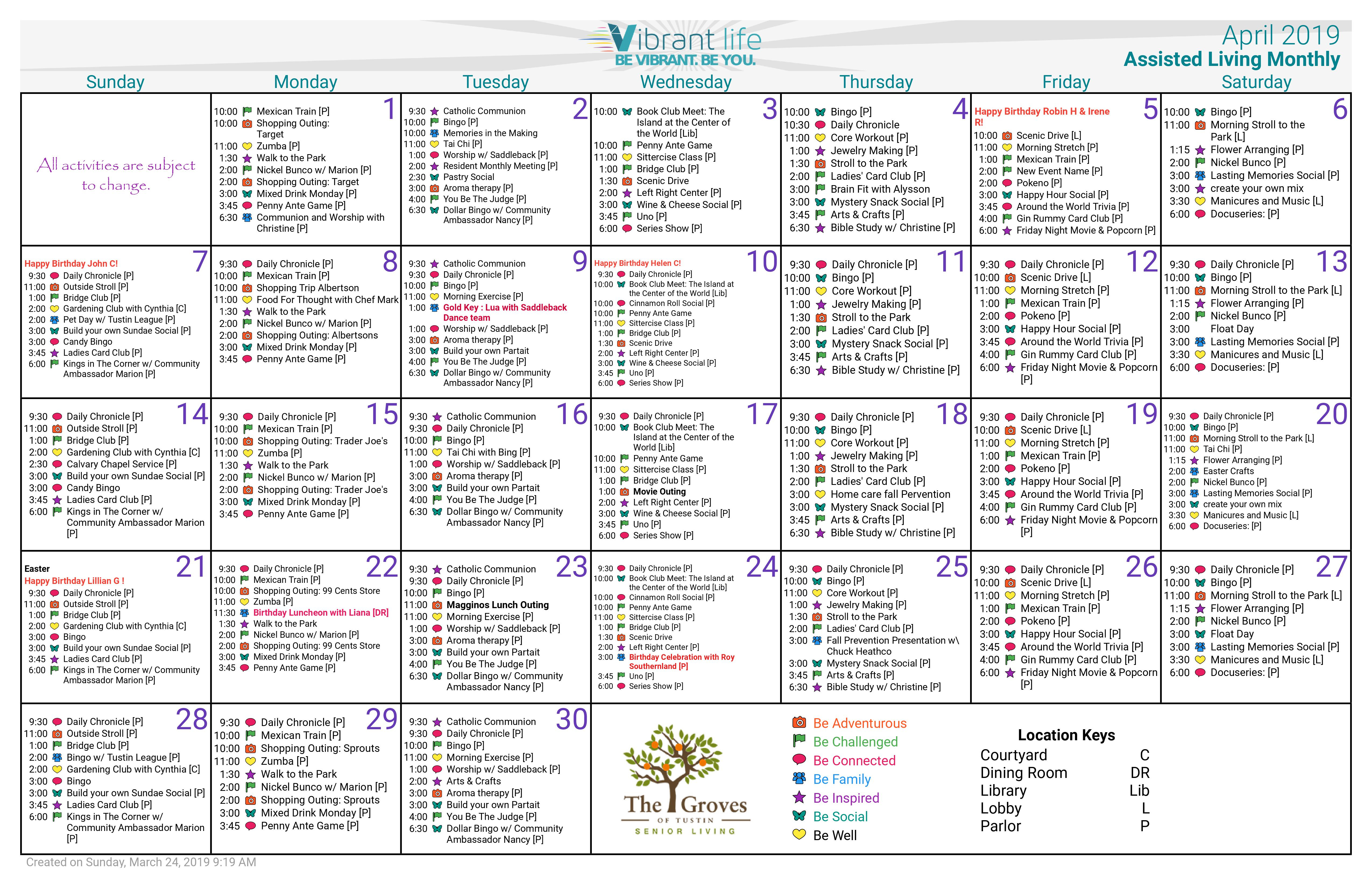 April 2019 Assisted Living Calendar – Groves Of Tustin With Asiisted Living Home Monthly Cactivity Calendar