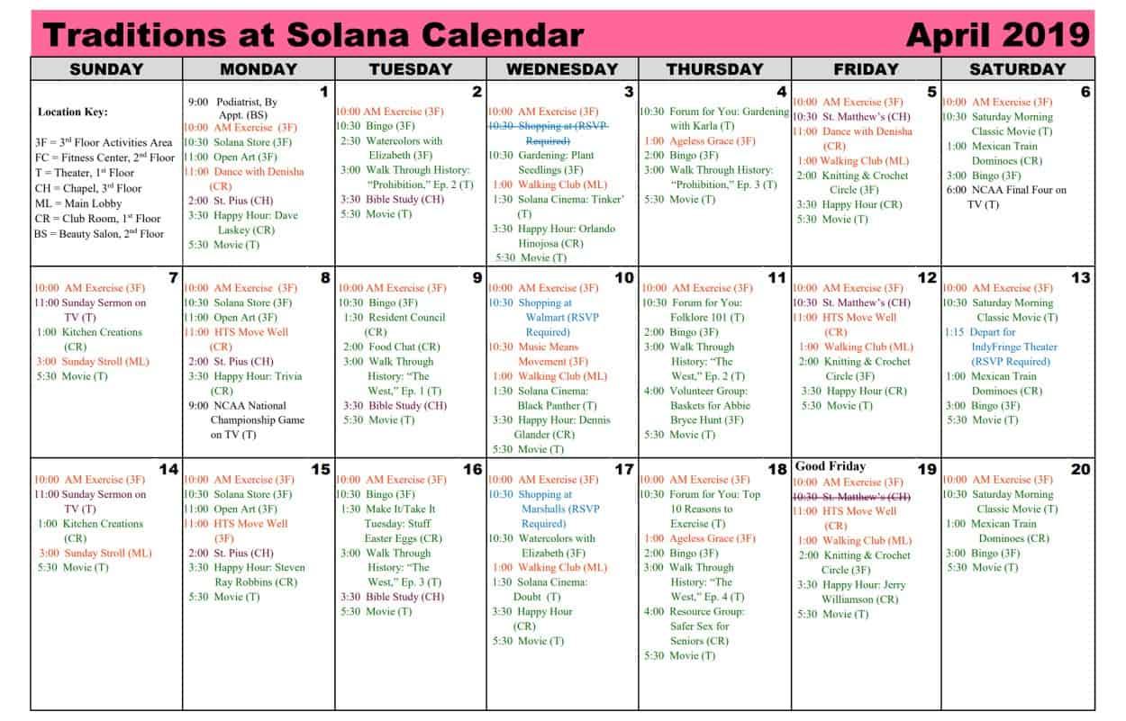 April 2019 Calendar | Traditions At Solana in Mexican Calendar For Names