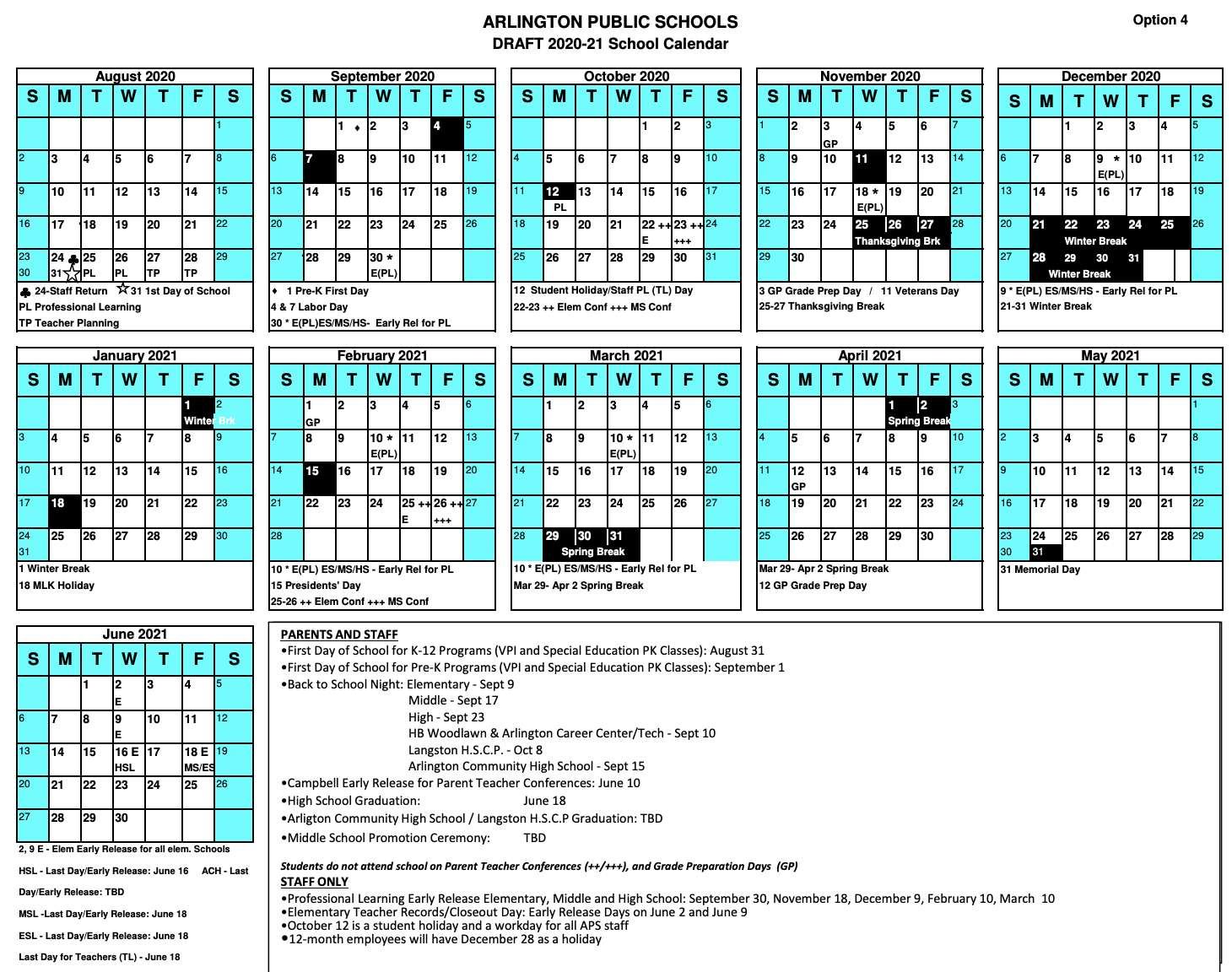 Aps School Year To Start Aug. 31 | Arlnow Throughout Post Falls High School Calendar