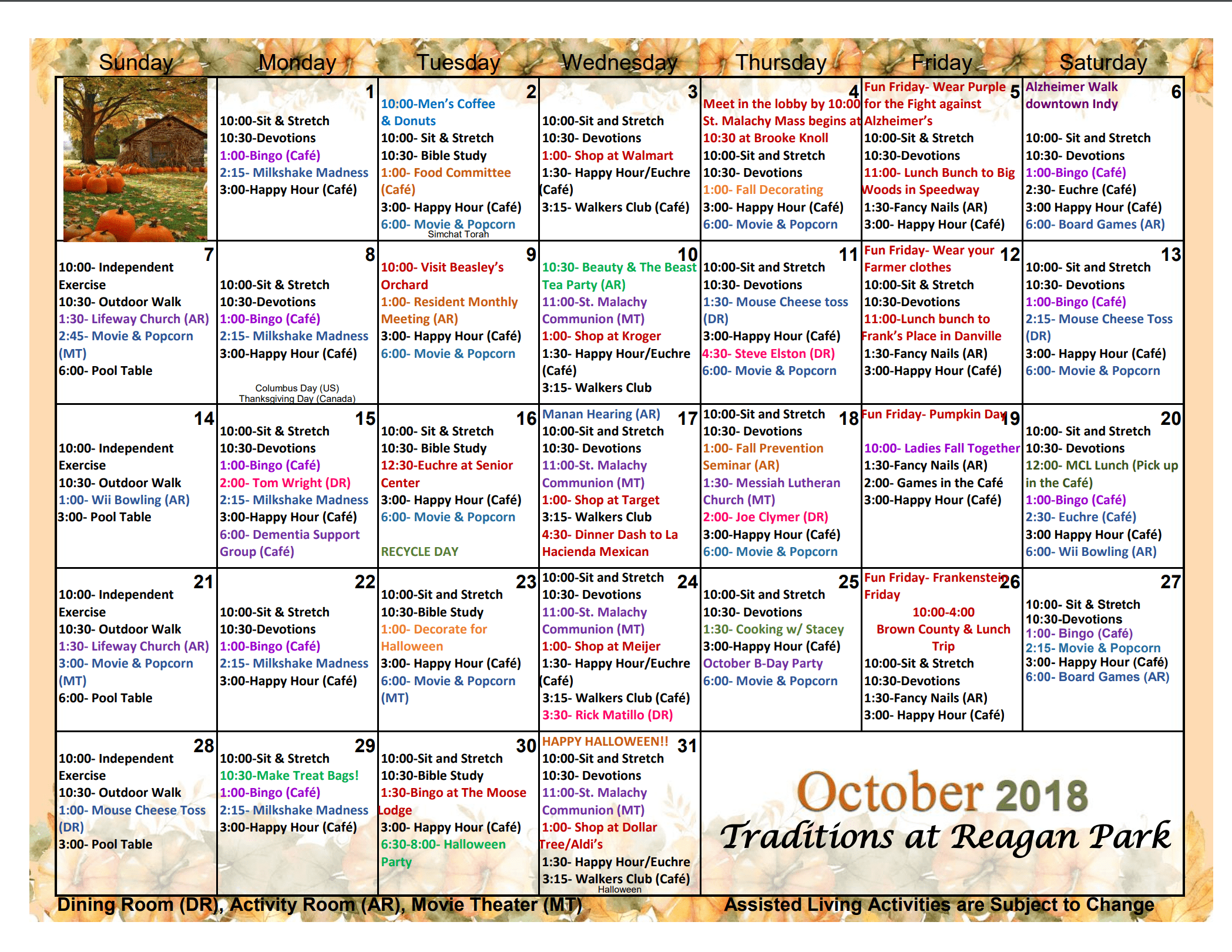 Assisted Living Activities   Traditions At Reagan Park For Assisted Living Activities Schedule