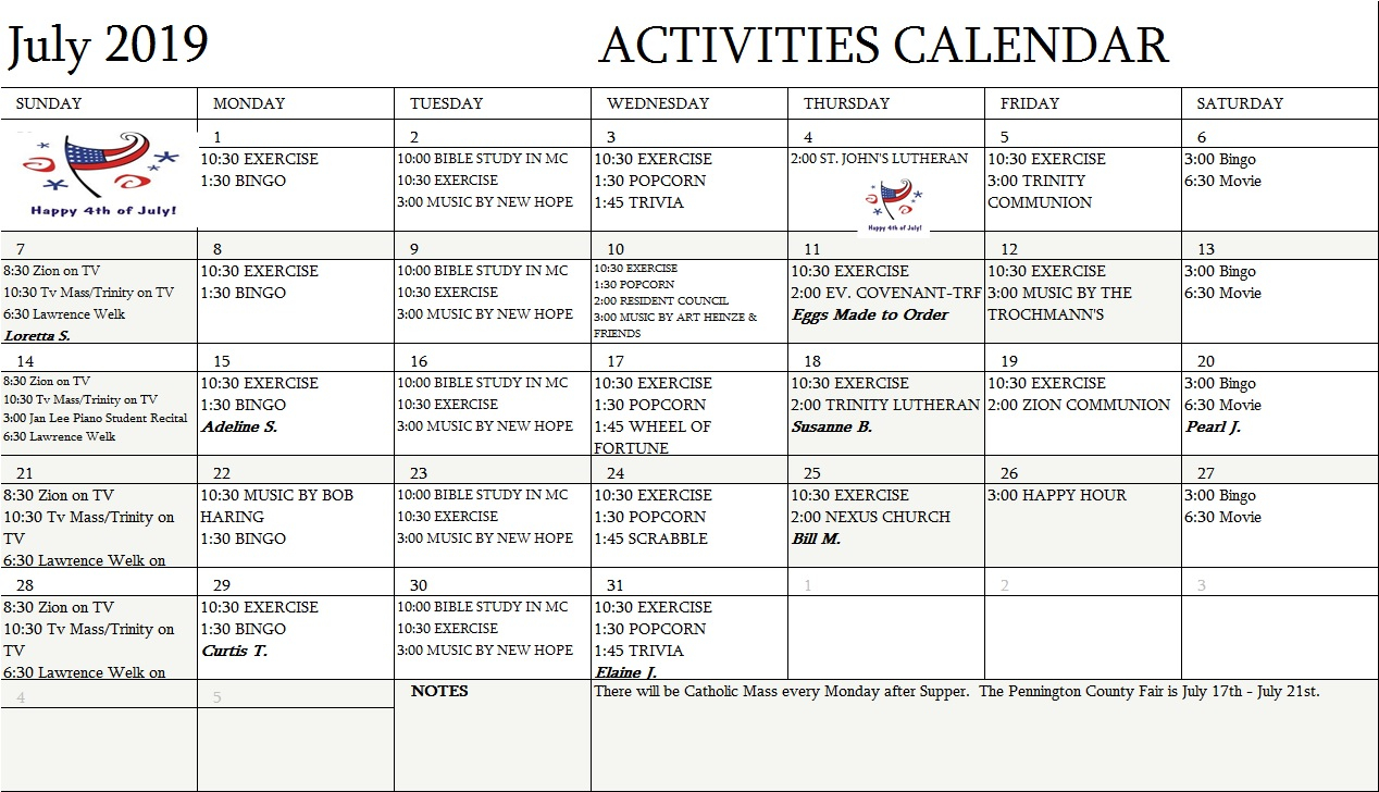 Assisted Living Monthly Activities Calendar | For Assisted Living Activity Calendar Format