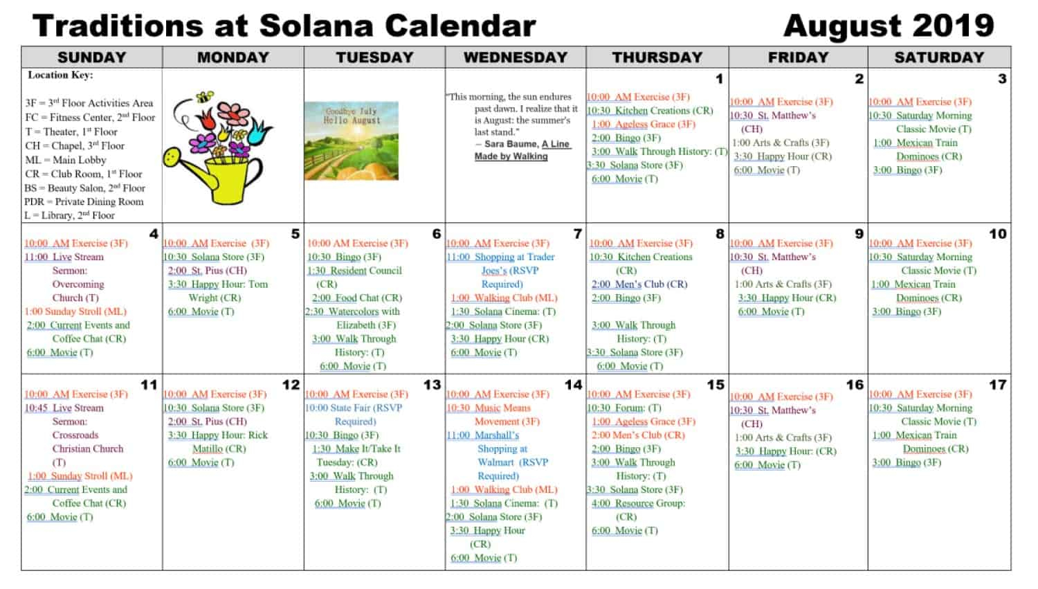 August 2019 Calendar | Traditions At Solana Pertaining To Mexican Calendar For Names