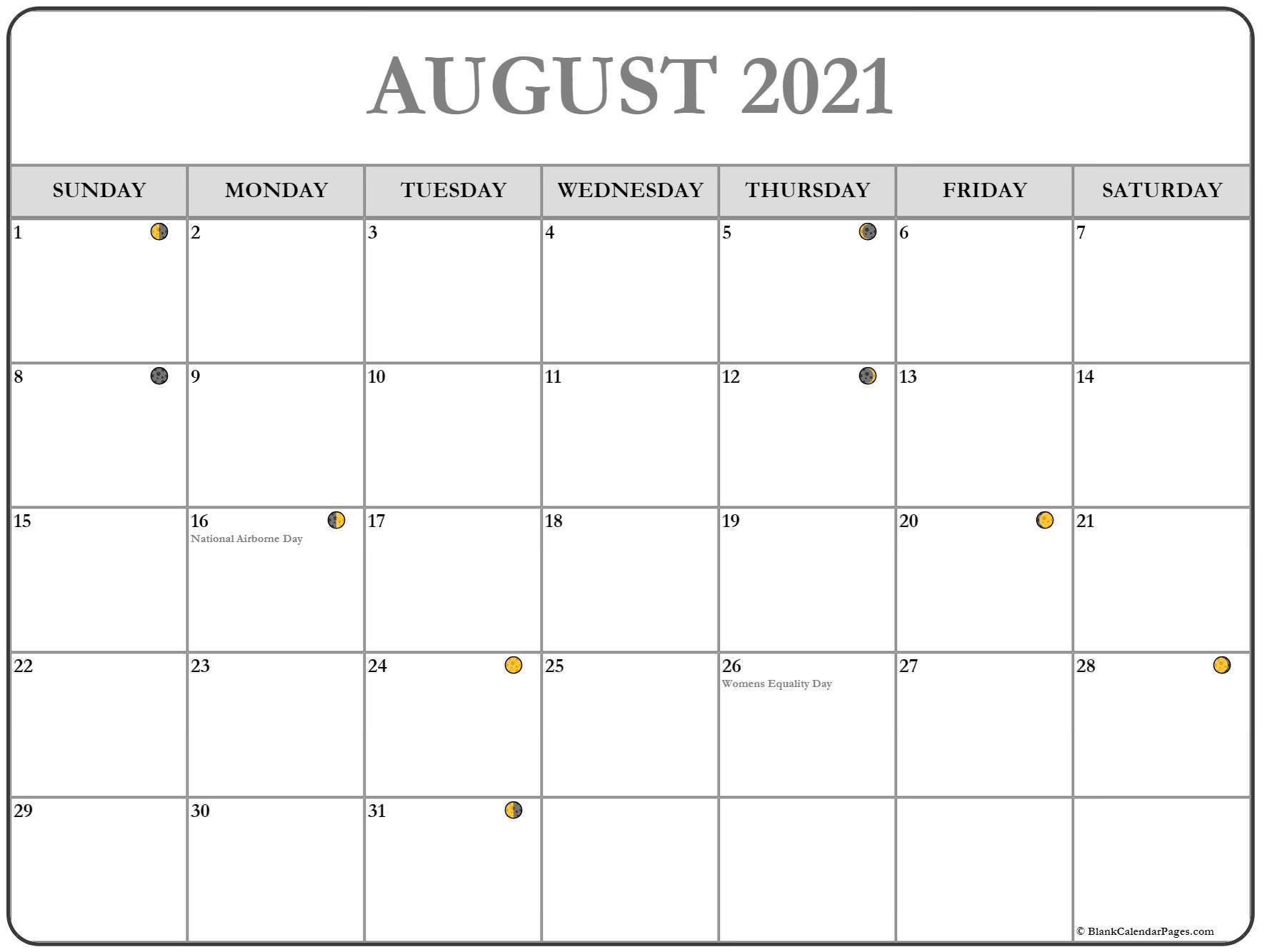 August 2021 Lunar Calendar   Moon Phase Calendar With Regard To Moon Calendar 2021 Name And Date For Kids