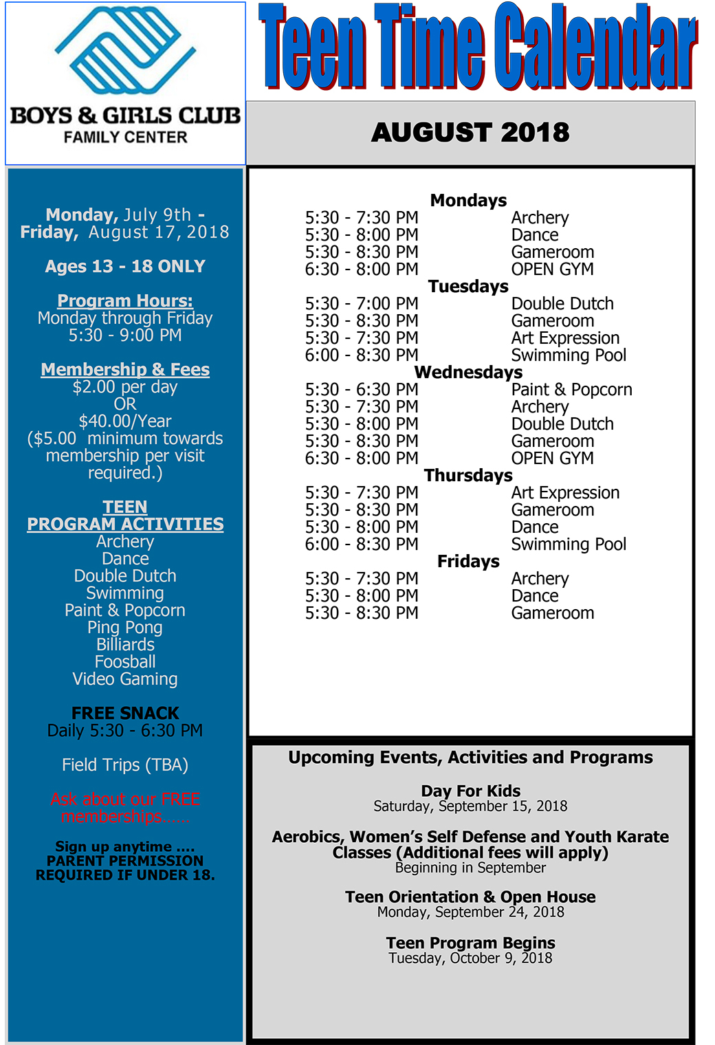 August Teen Summer Program Calendar   Boys & Girls Club intended for Boys And Girls Club Program Program Calendar