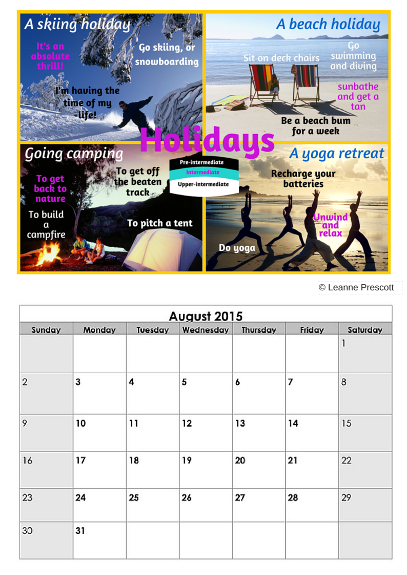 August Vocabulary Calendar – Holiday Phrases – Lsi Portsmouth Intended For Everyday Is A Holiday Calendar
