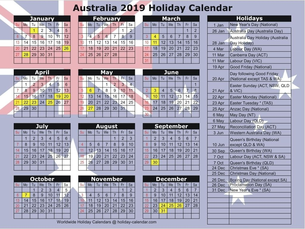 Australia 2019 / 2020 Holiday Calendar Dowload Check More At Within Uri Academic Calendar Holiday