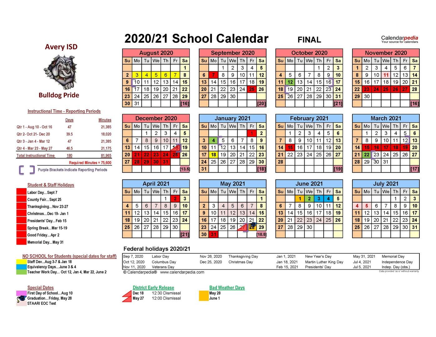 Avery Isd Within Sulphur Springs Tx School District Calendar