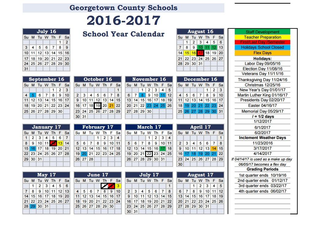Back 2 School: Georgetown County School District For Williamsburg County School District Calendar