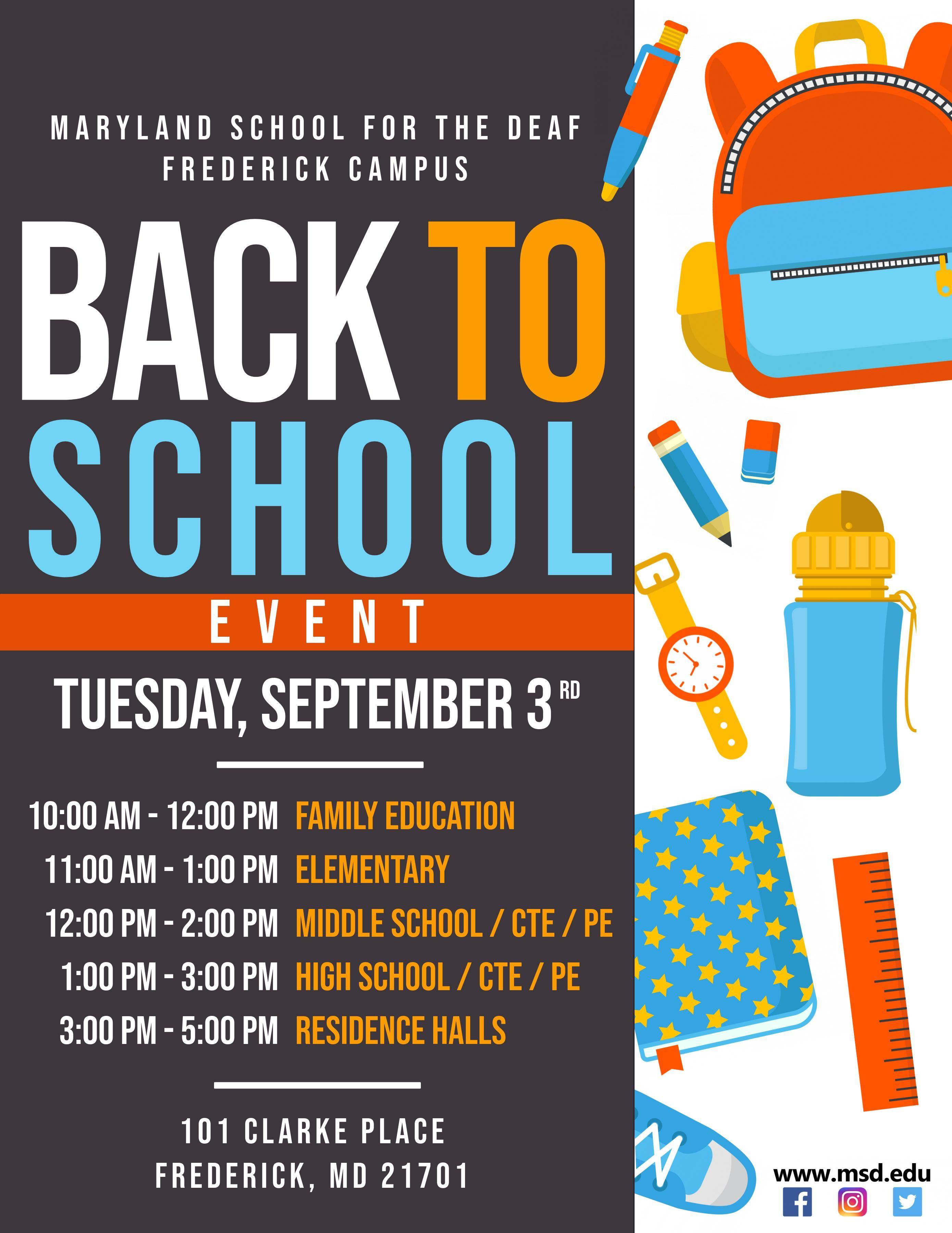 Back To School Event – Upcoming Events – Maryland School For Regarding Frederick Md Calendar Of Event