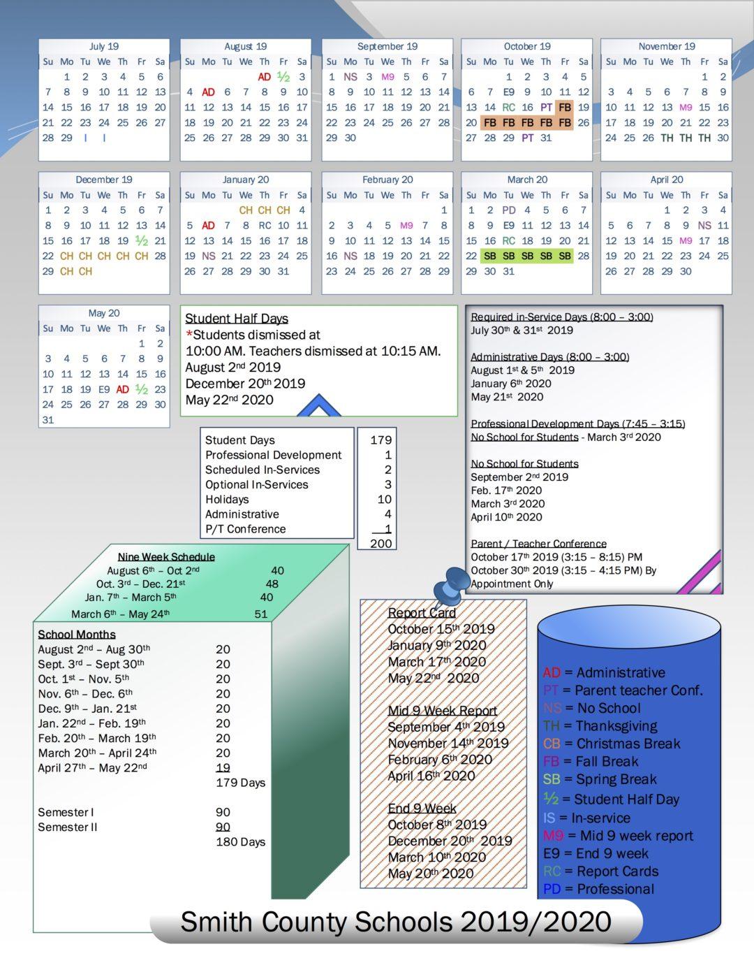Back To School In Smith County! 2019 2020 School Calendar Within Wilson County Tennessee School Calendar