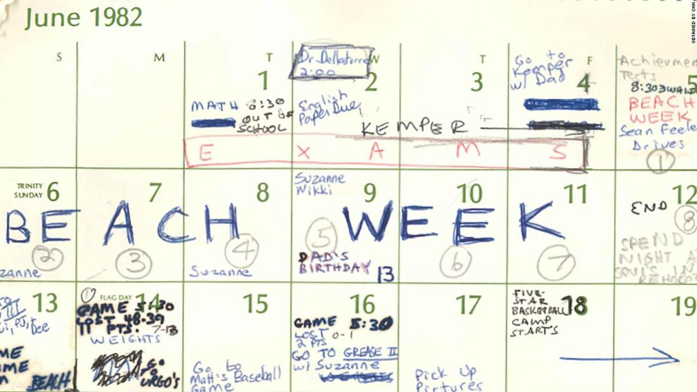 Beach Week: Brett Kavanaugh's Calendar Mentions Debauched Dc Intended For North Carolina Court Calendar Search By Name