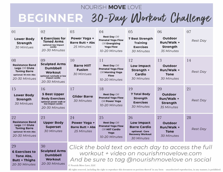 Beginner Workout Plan + 30 Day Workout Calendar   Nourish For 30 Day Fitness Challenge Calendar