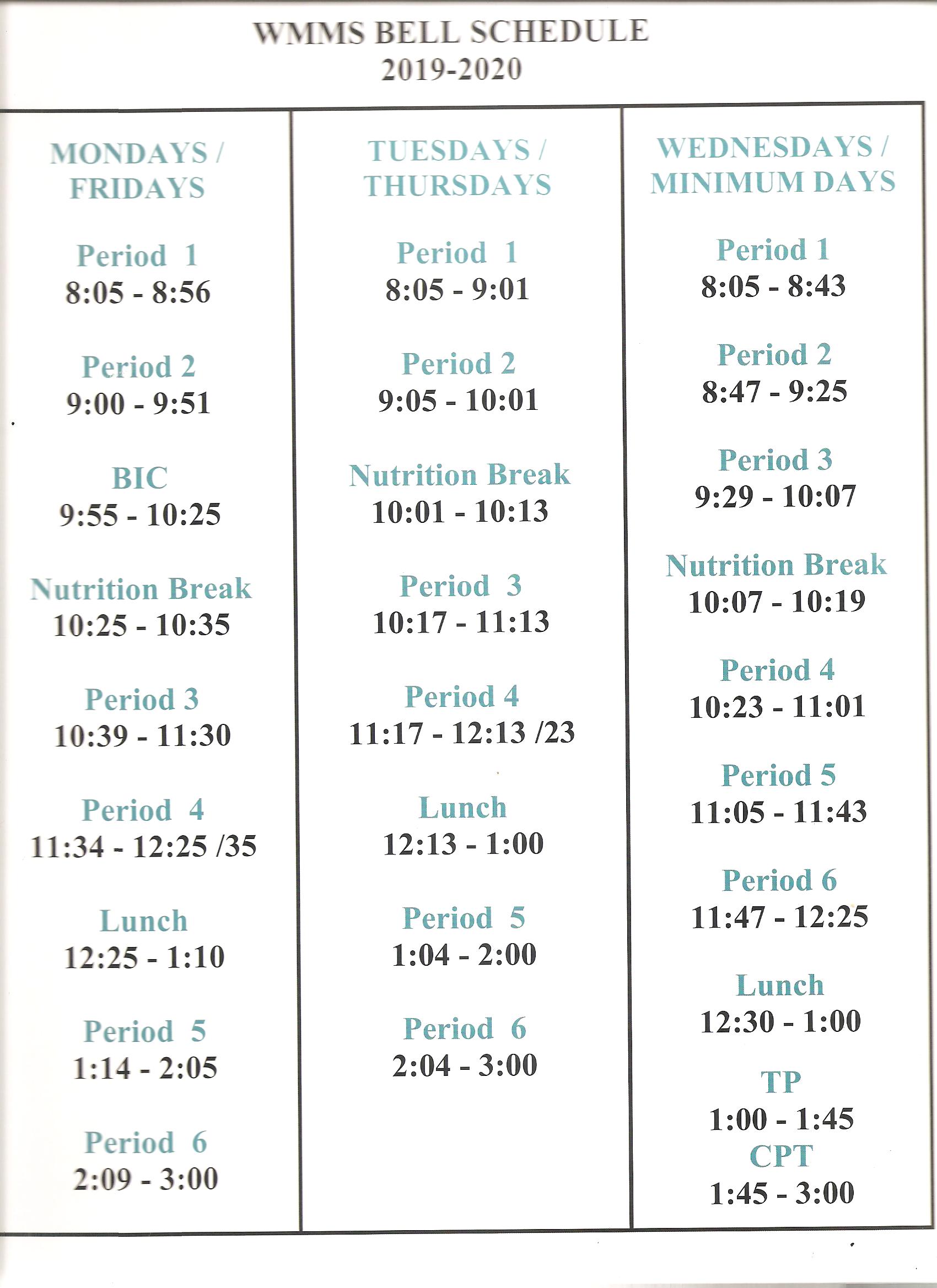 Bell Schedule & Calendar – Our School – Washington Manor Throughout Sn Leandro High School Calendart