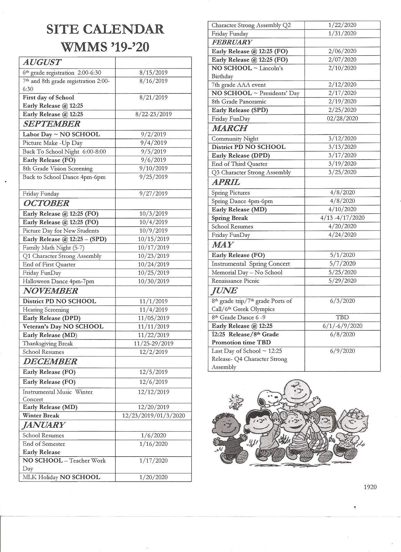 Bell Schedule & Calendar – Our School – Washington Manor Within Sn Leandro High School Calendart