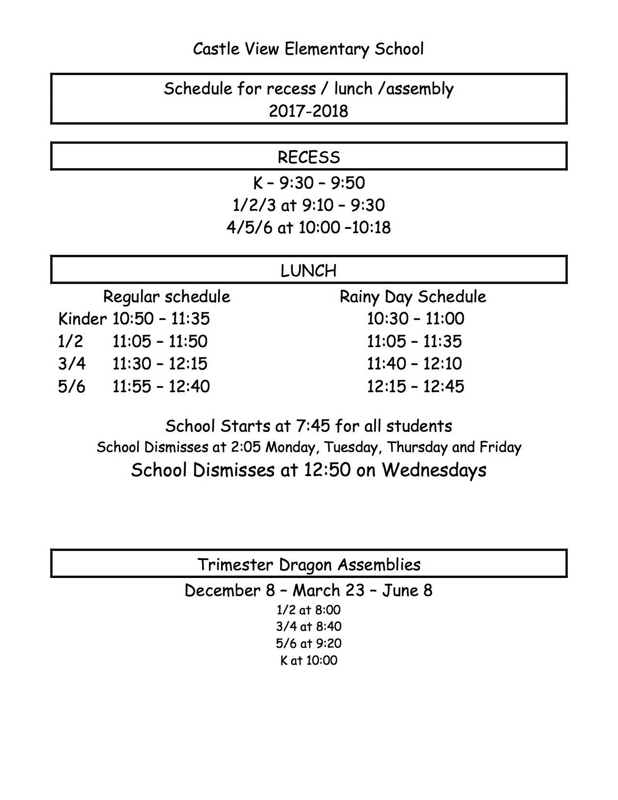 Bell Schedule – Castle View Elementary Regarding Victorville School District Class Schedule