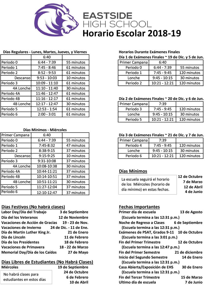 Bell Schedule – Eastside High School In Victorville School District Class Schedule
