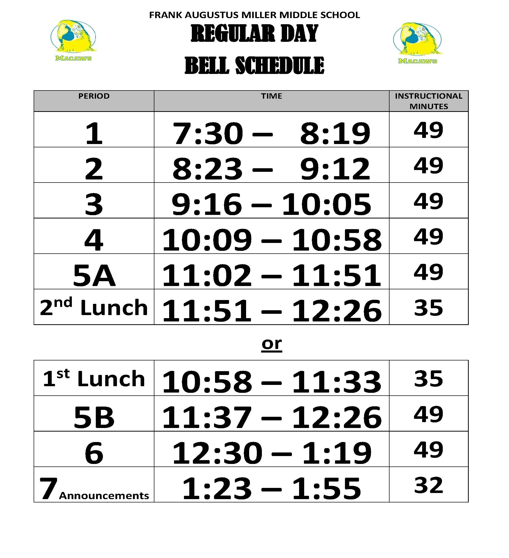 Bell Schedules - Frank Augustus Miller Middle Inside Victorville School District Class Schedule