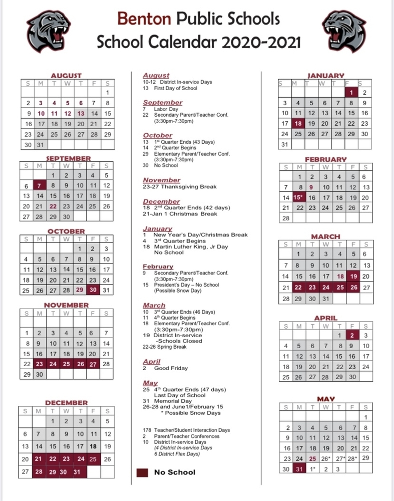 Benton School District Regarding Pine Bluff School District Calendar