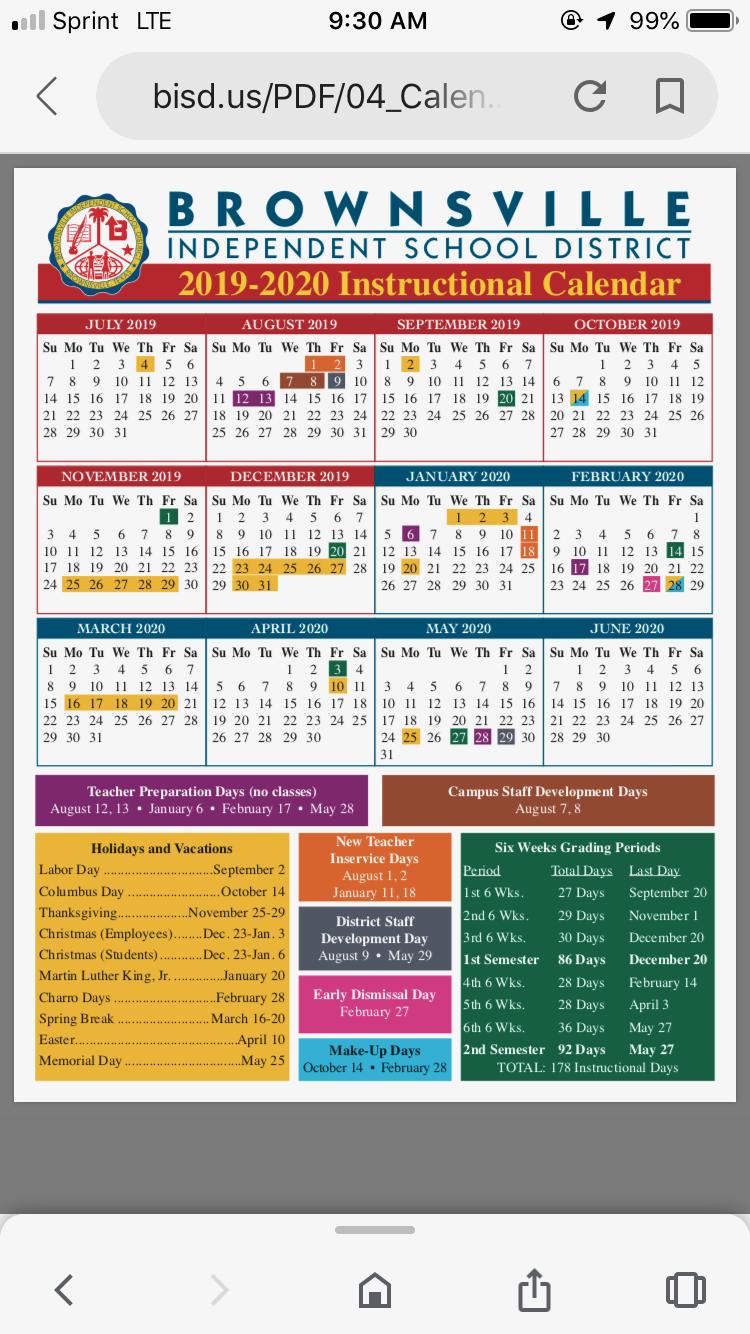 Bisd School Calendar 2020 | Home. 2019 12 13 Regarding Brownsville Bisd School District Calendar
