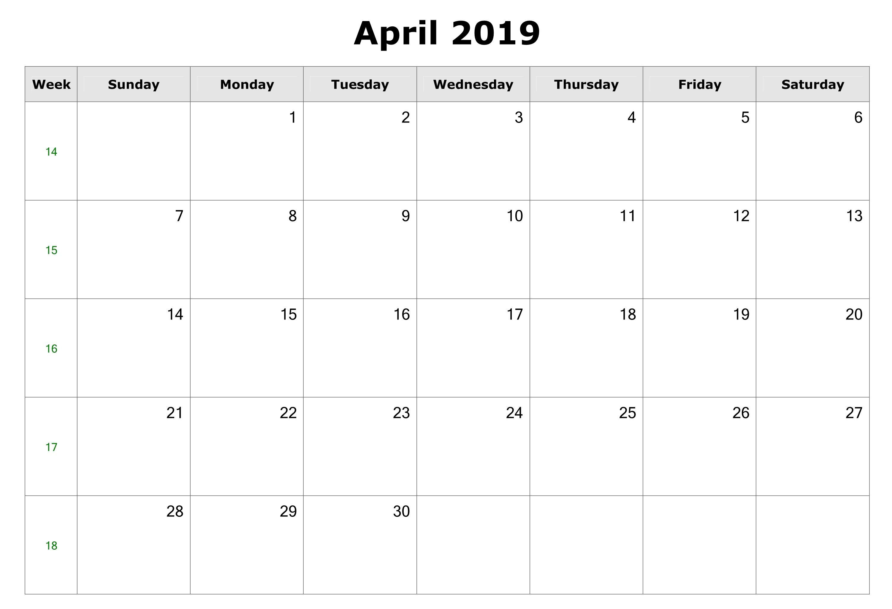 Blank April 2019 Printable Calendar Download   Printable Within Create Your Own Calendar Printable