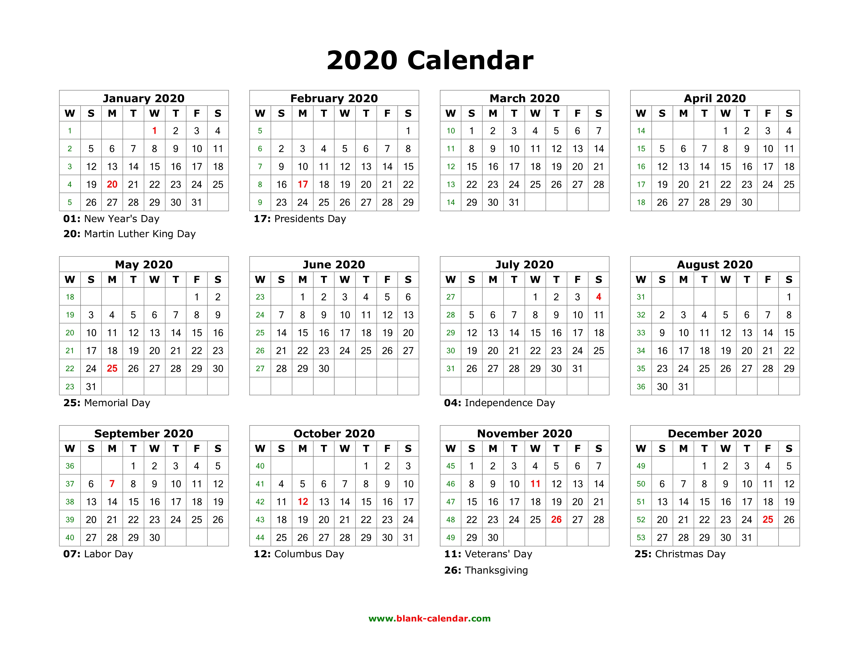 Blank Calendar 2020   Free Download Calendar Templates Within 12 Mo Calendar Template One Page No Dates