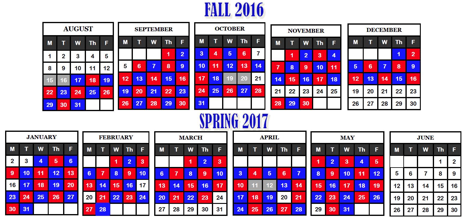 Blue Red Day Calendar Within District 20 Colorado Springs Calendar