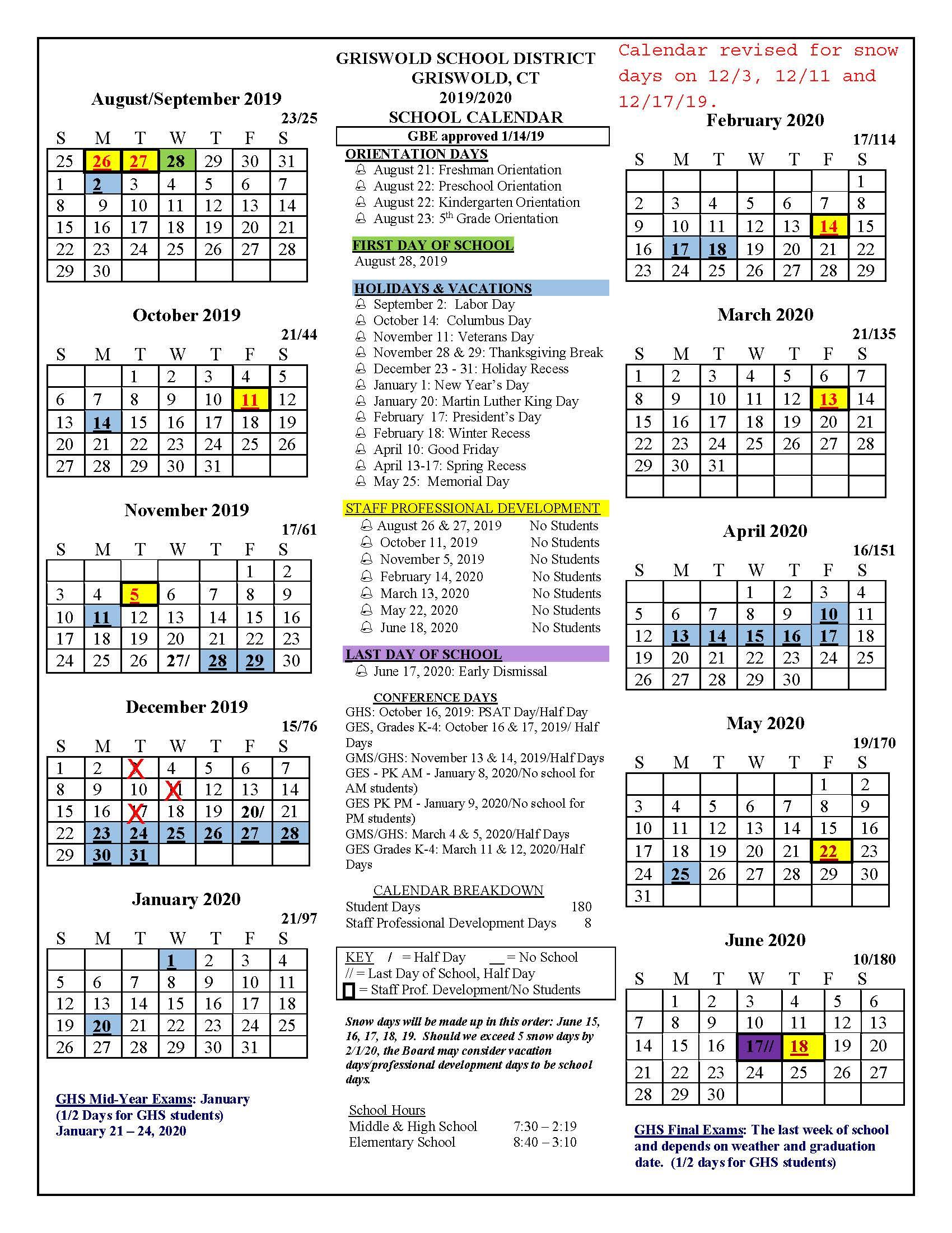 Board Approved Academic Calendar - Griswold Public Schools Inside Naugatuck Valley Community College Calendar
