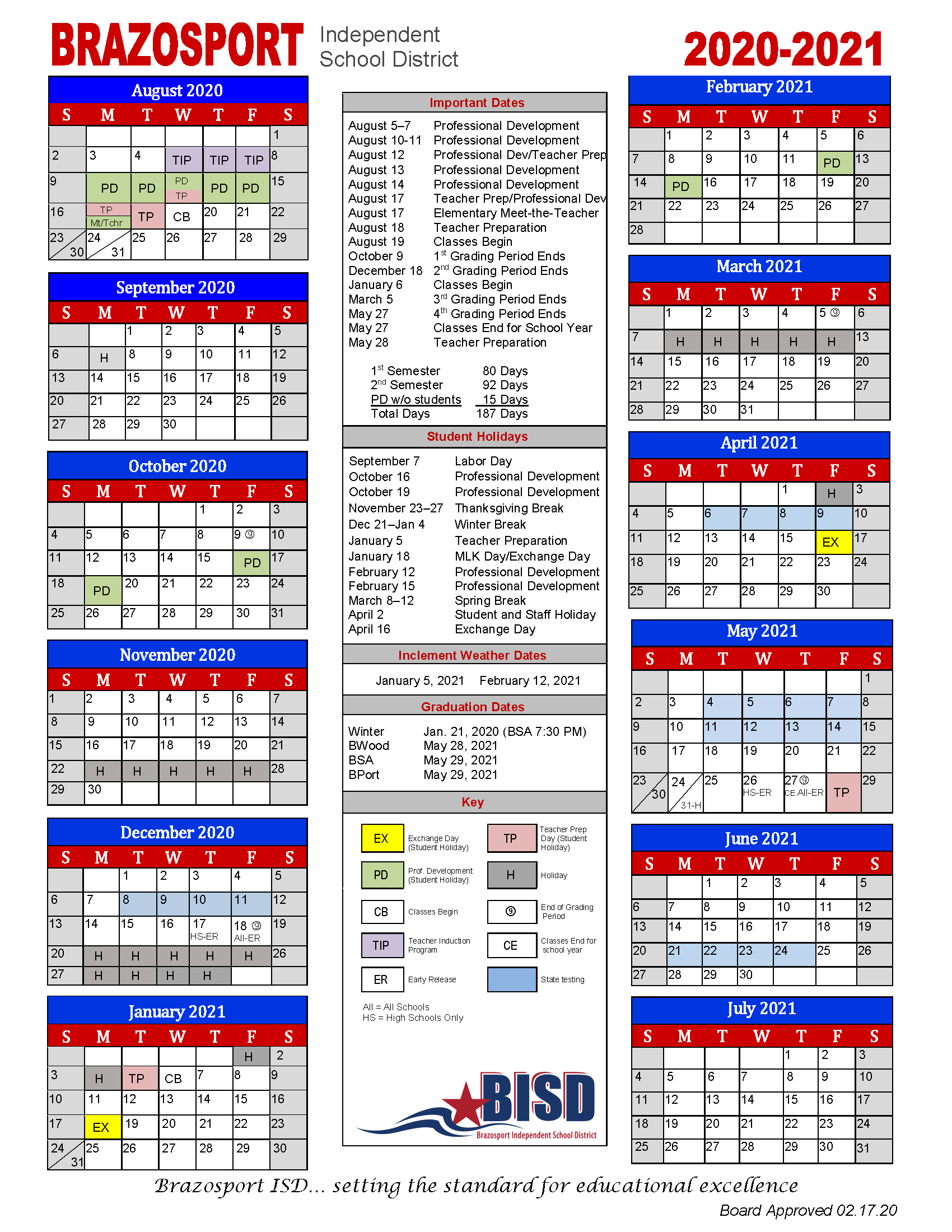 Board Approves 2020 2021 School Calendar - Brazosport Inside Brownsville Bisd School District Calendar