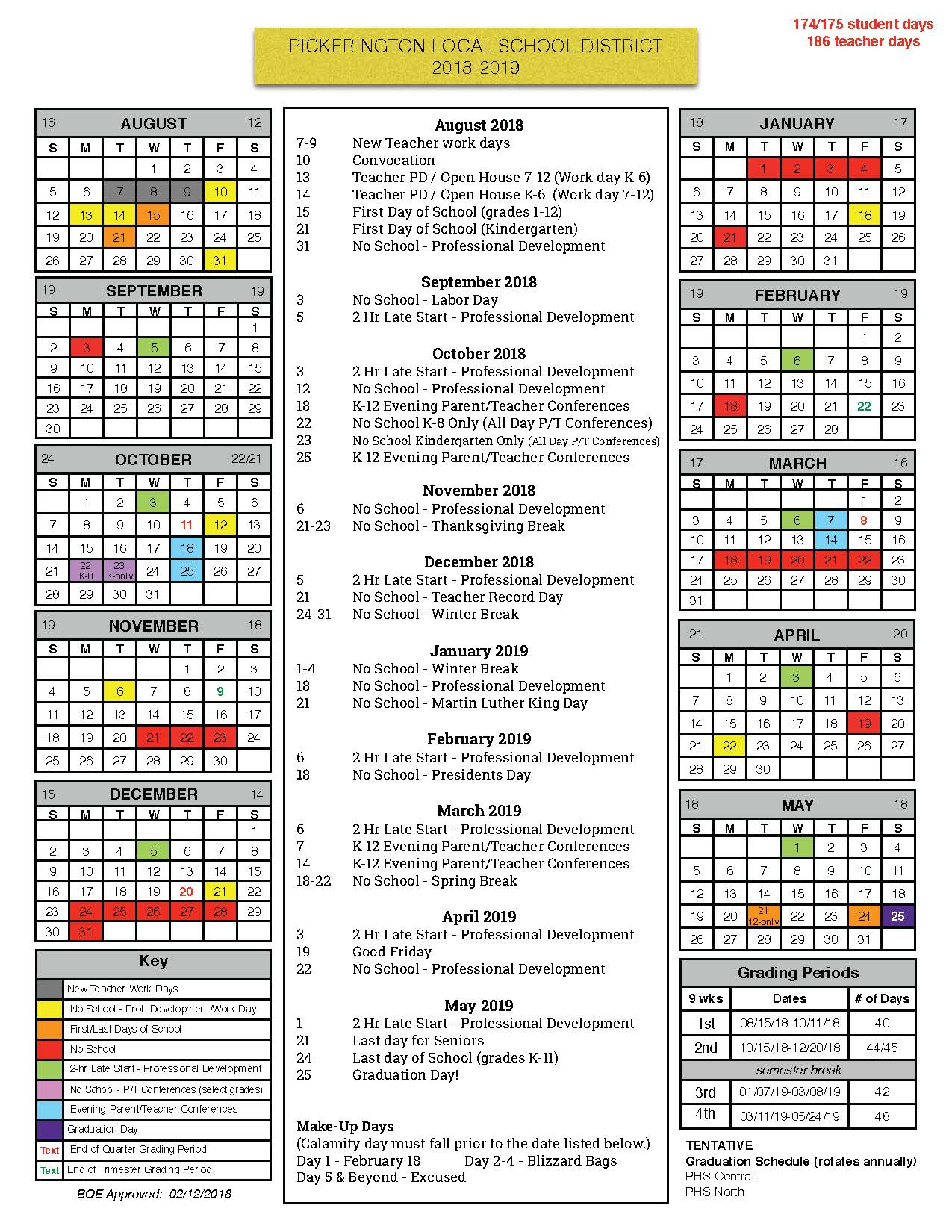 Board Of Education Approves 2018 19 Calendar - Pickerington With Regard To Board Of Education Calendar
