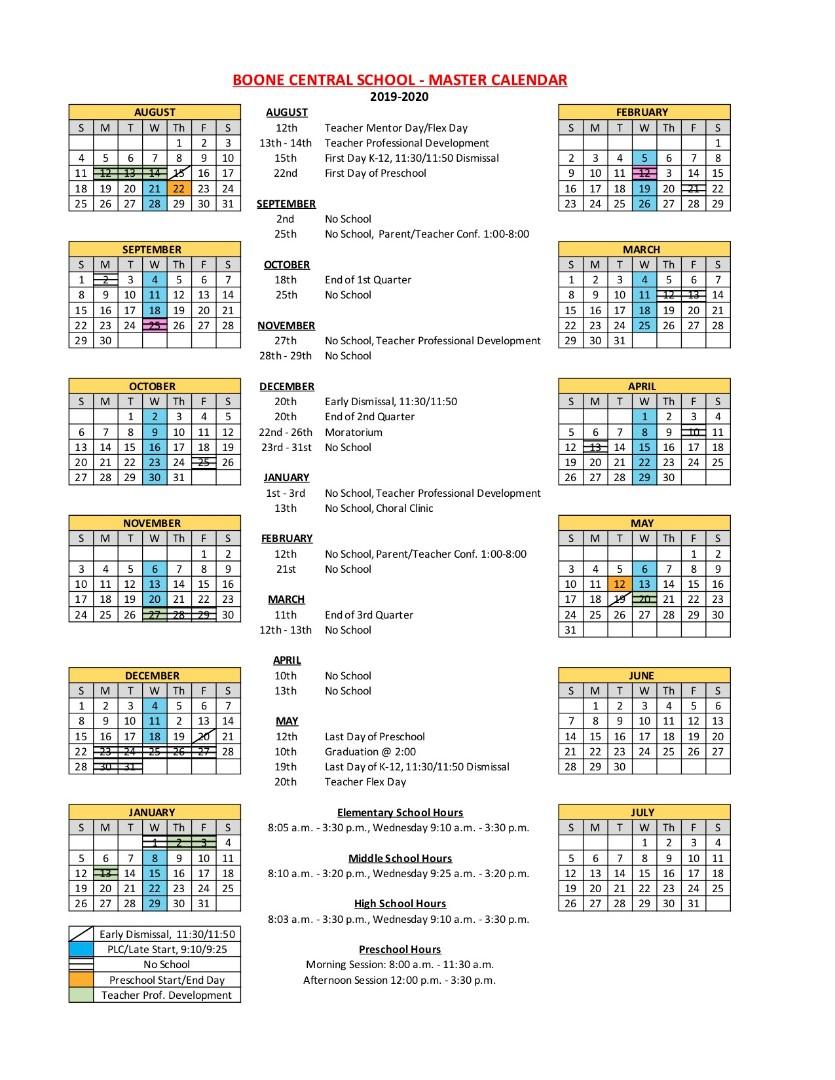 Boone Central Schools - 2019 2020 District Calendar Intended For Johnston County Public School Calendar