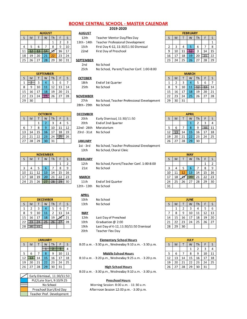 Boone Central Schools – 2019 2020 District Calendar Intended For Johnston County Public Schools Calendar 2021