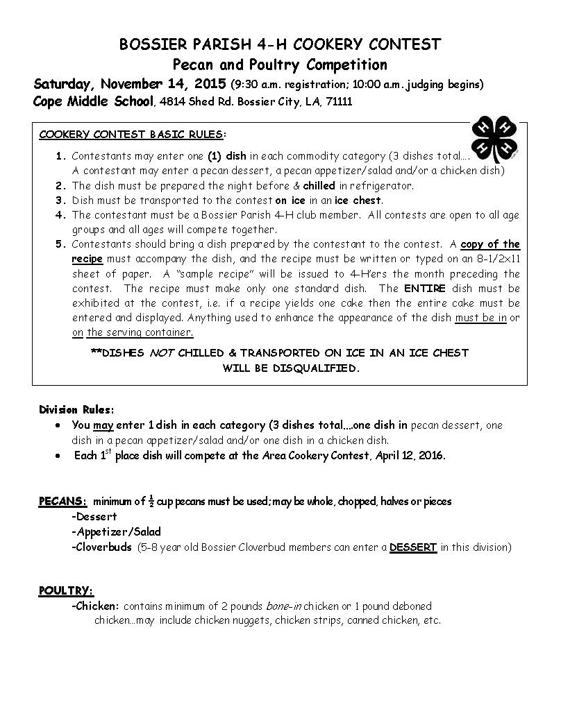 Bossier Parish 4 H Pecan And Poultry Competition Pertaining To Bossier Parrish School Calendar