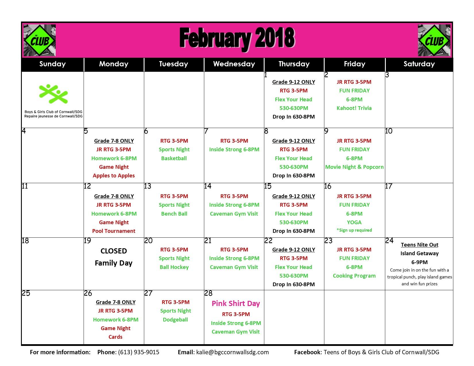 Boys And Girls Club Youth Program Calendar | With Boys And Girls Club Calender For Meetingd